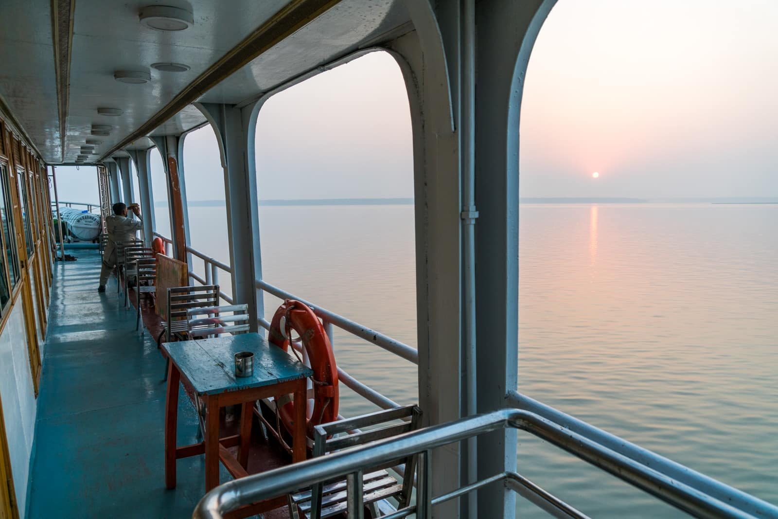 Guide to Nijhum Dwip, Bangladesh - Sunrise over the Meghna river on the launch from Dhaka to Hatiya - Lost With Purpose travel blog