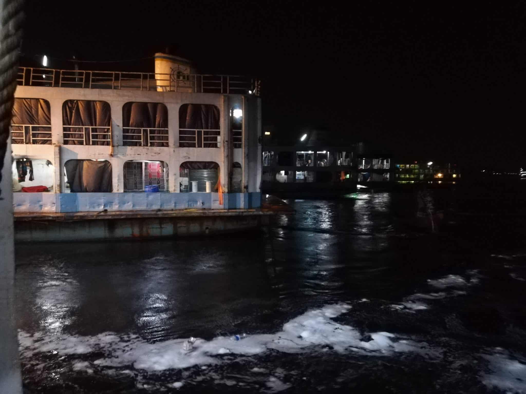 Launches from Hularhat to Dhaka, Bangladesh - Pulling into Dhaka port - Lost With Purpose travel blog