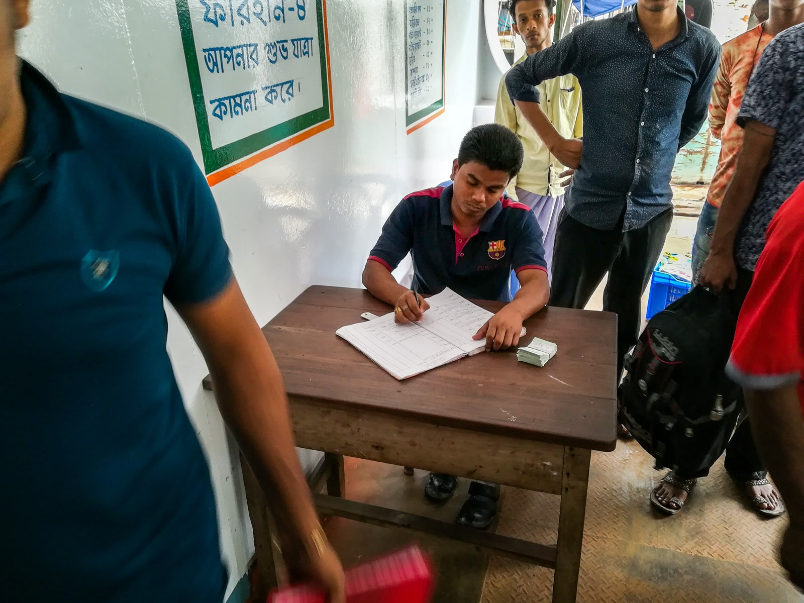 Guide to launches in Bangladesh - Ticket desk on launch boat - Lost With Purpose travel blog