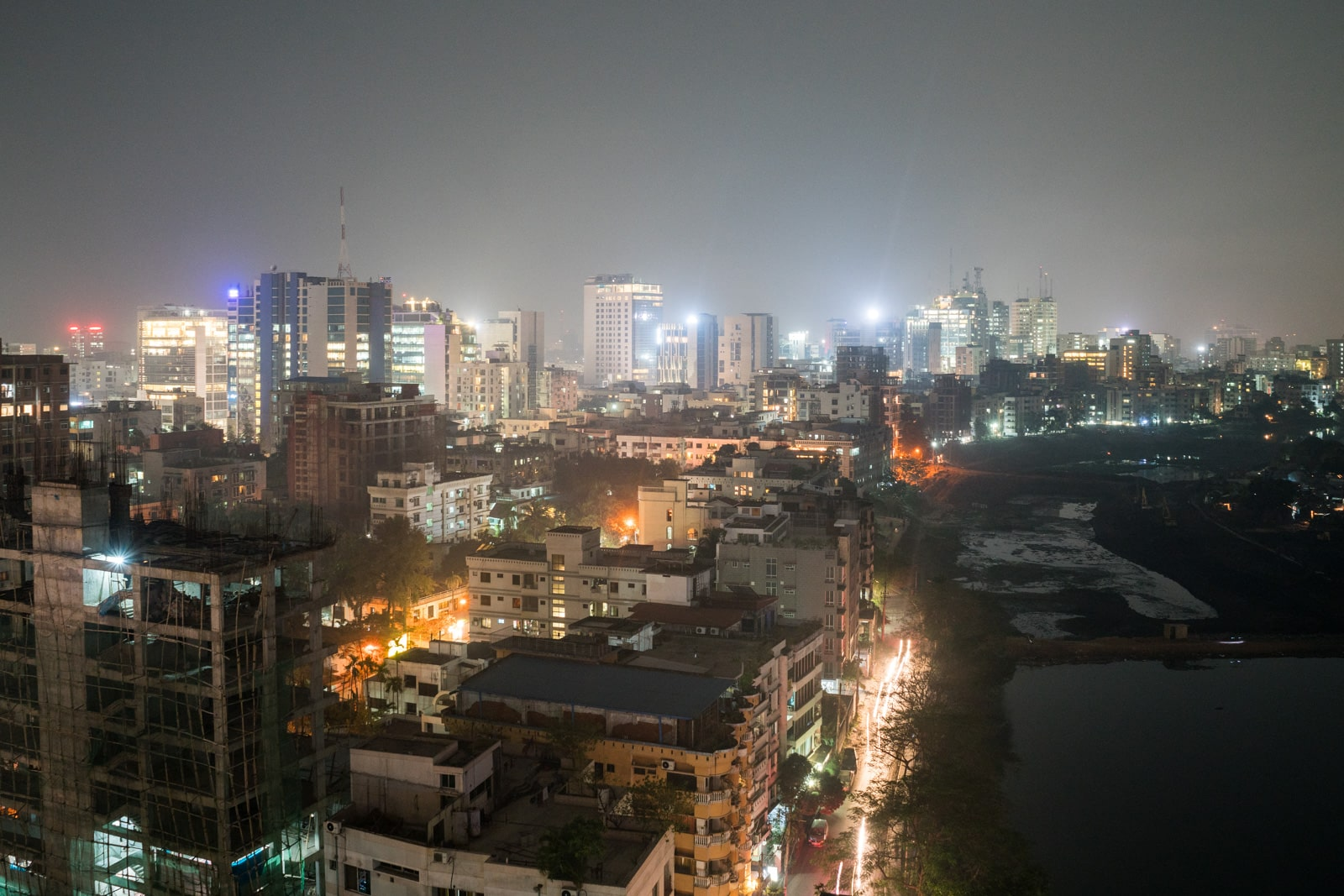 Backpacking in Bangladesh travel guide - North Dhaka from above at night - Lost With Purpose travel blog