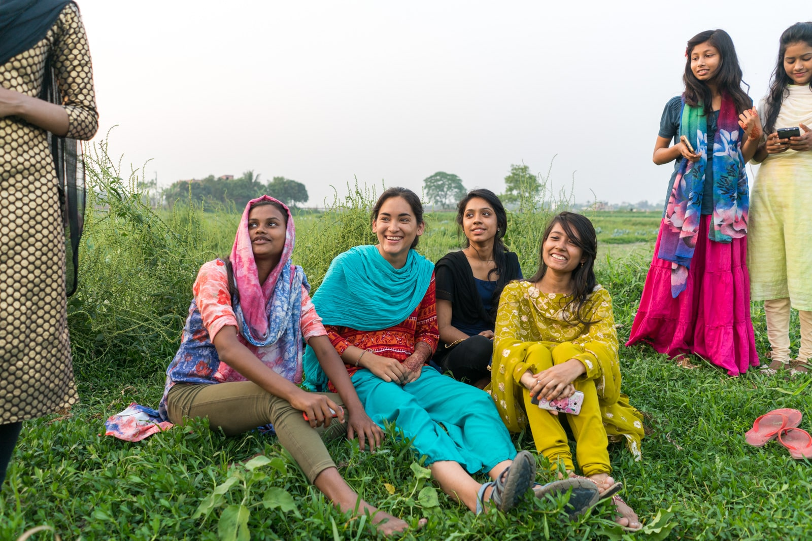 Is Bangladesh safe for solo female travelers - Selfie time with girls outside of Dhaka - Lost With Purpose travel blog