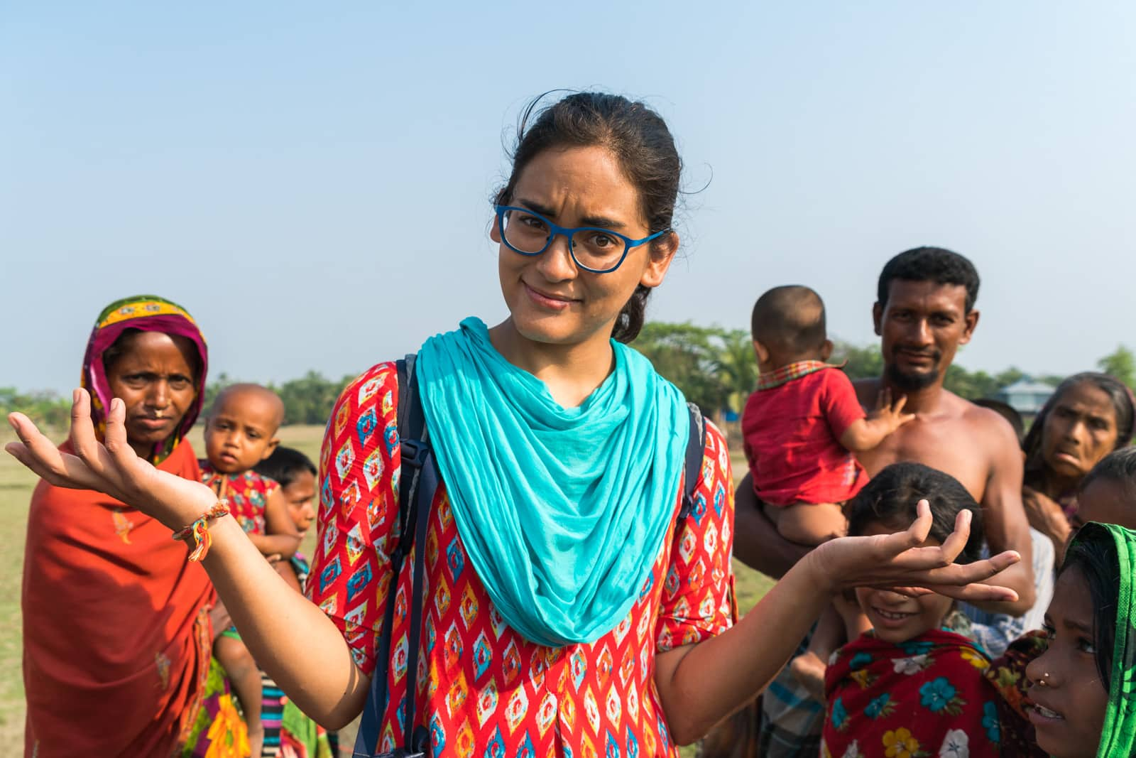 Is Bangladesh safe for female travelers? - Alex surrounded on Nijhum Dwip island - Lost With Purpose travel blog