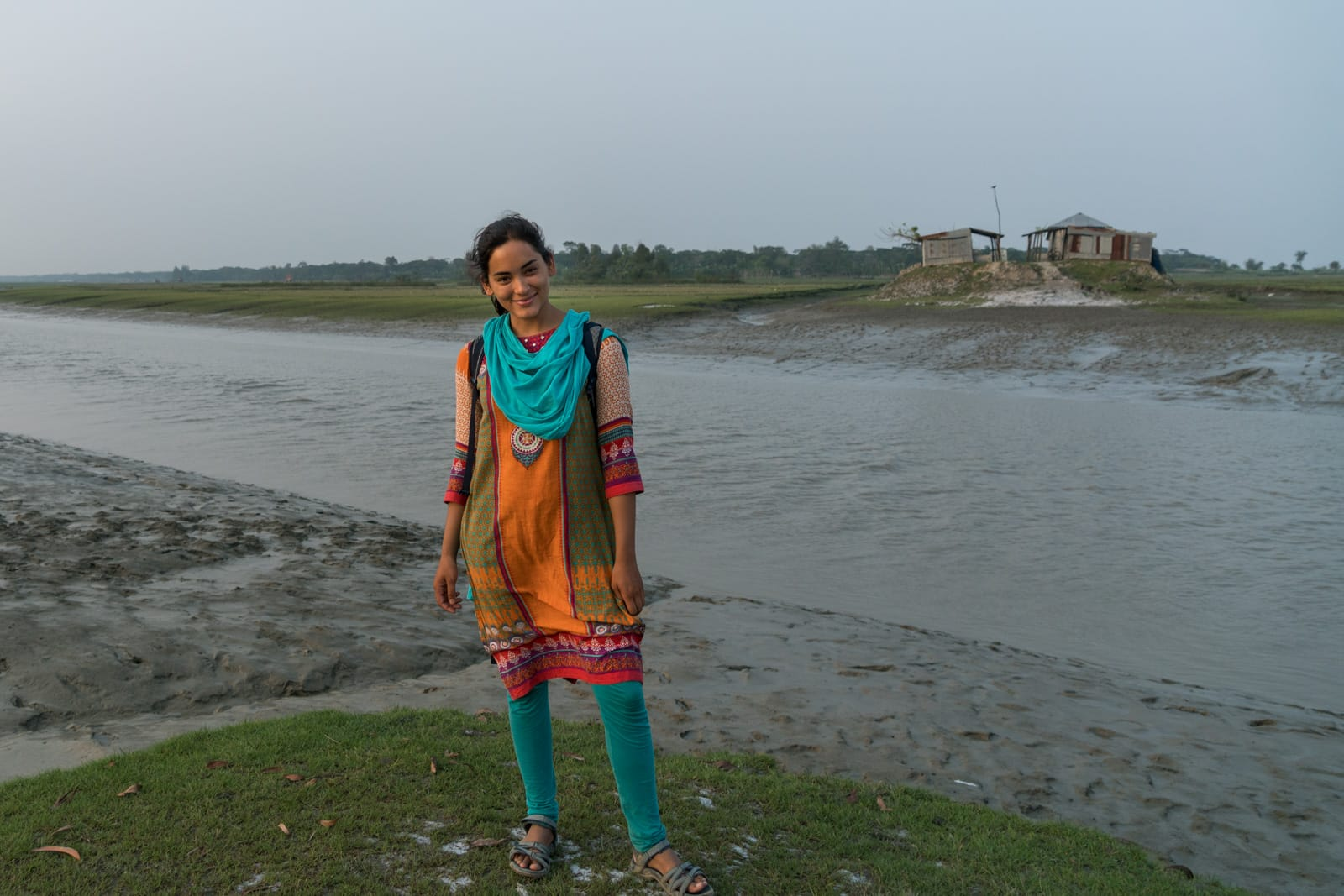 Guide to solo female travel in Bangladesh - Alex in traditional Bangladeshi clothes - Lost With Purpose travel blog