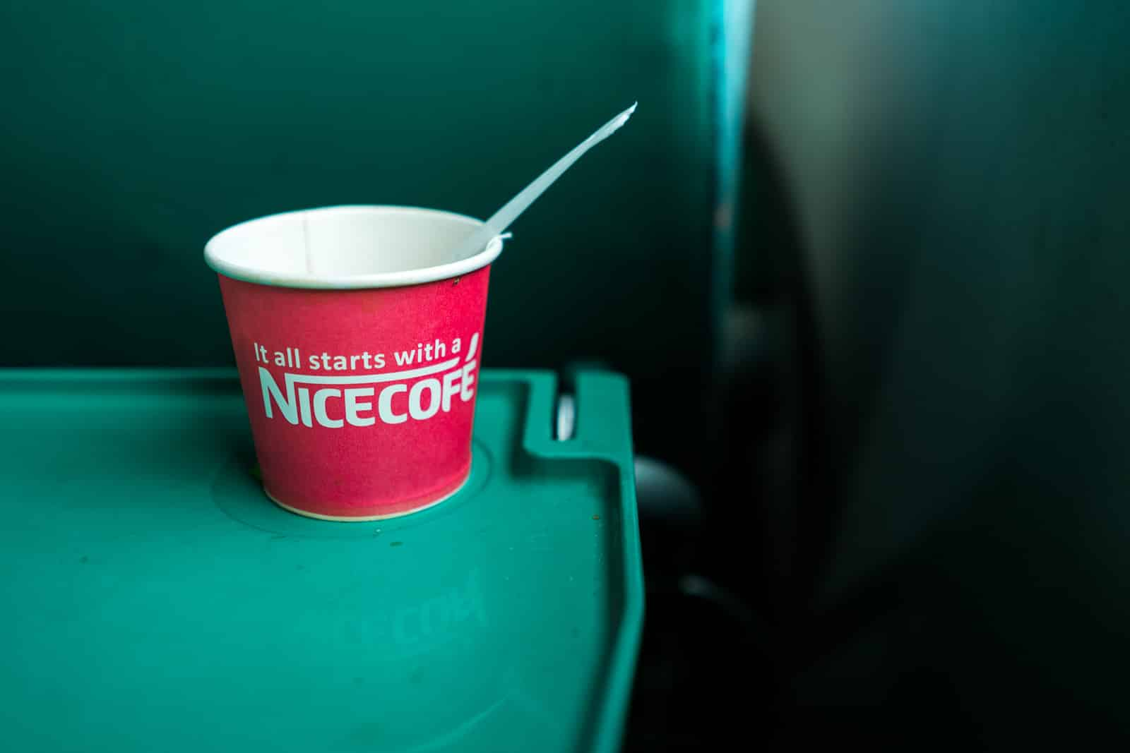 Train from Dhaka, Bangladesh to Kolkata, India - Knockoff Nescafe coffee cups - Lost With Purpose travel blog