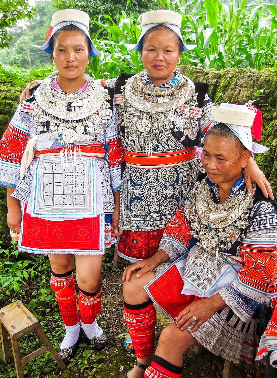 Exploring off the beaten track villages in Guizhou, China - Geija women in traditional clothes in Matang