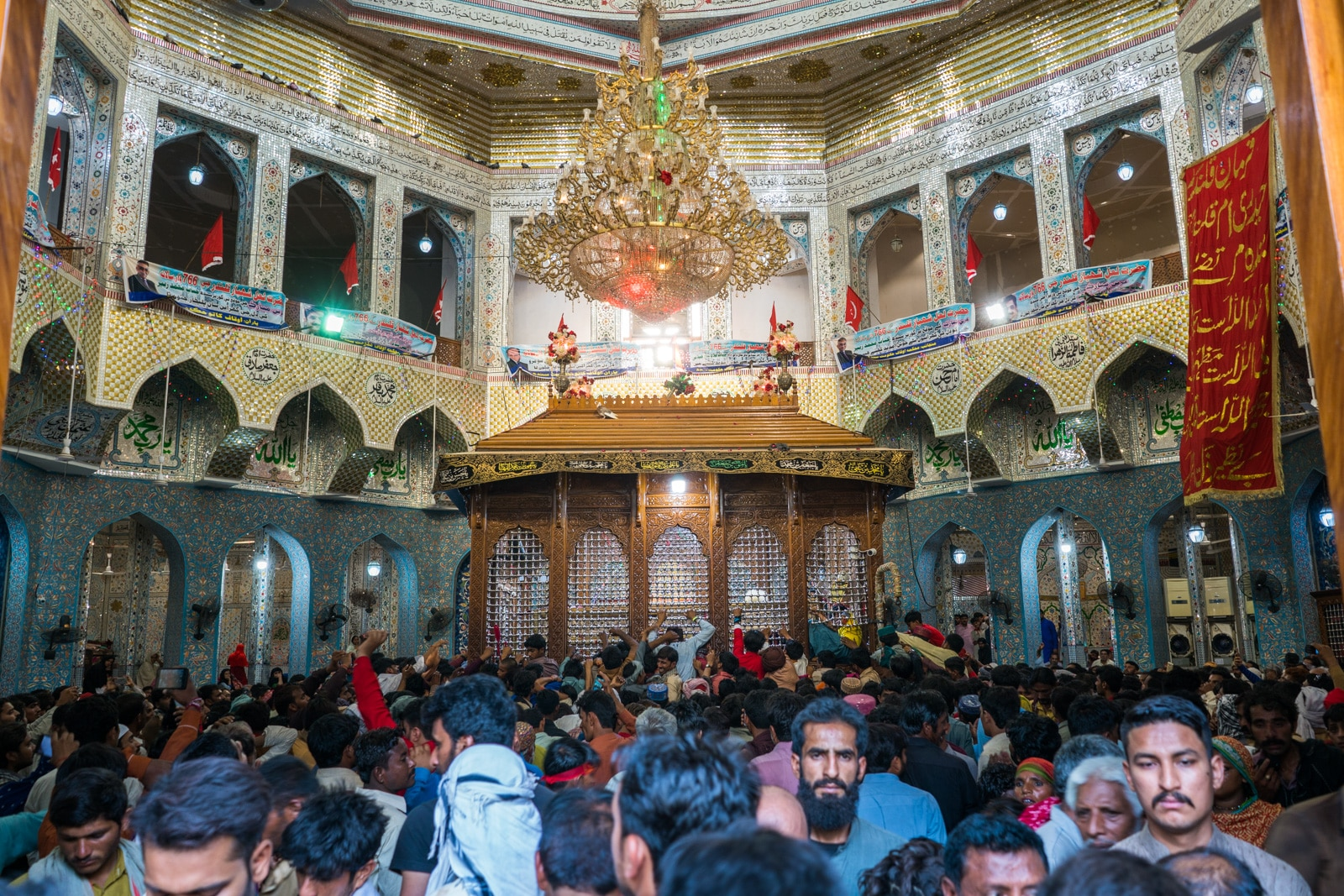 The Urs of Lal Shahbaz Qalandar in Sehwan, Pakistan - Crowds inside shrine - Lost With Purpose travel blog