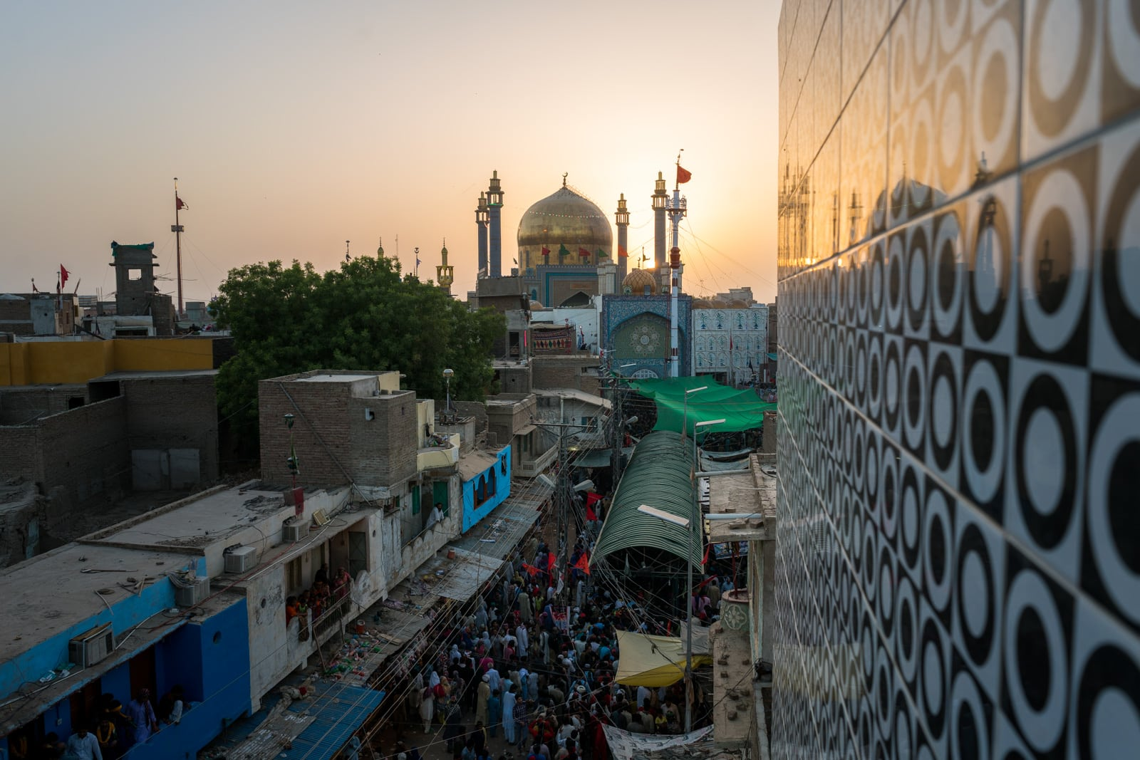 The Urs of Lal Shahbaz Qalandar in Sehwan, Pakistan - Shrine at sunset from above - Lost With Purpose travel blog