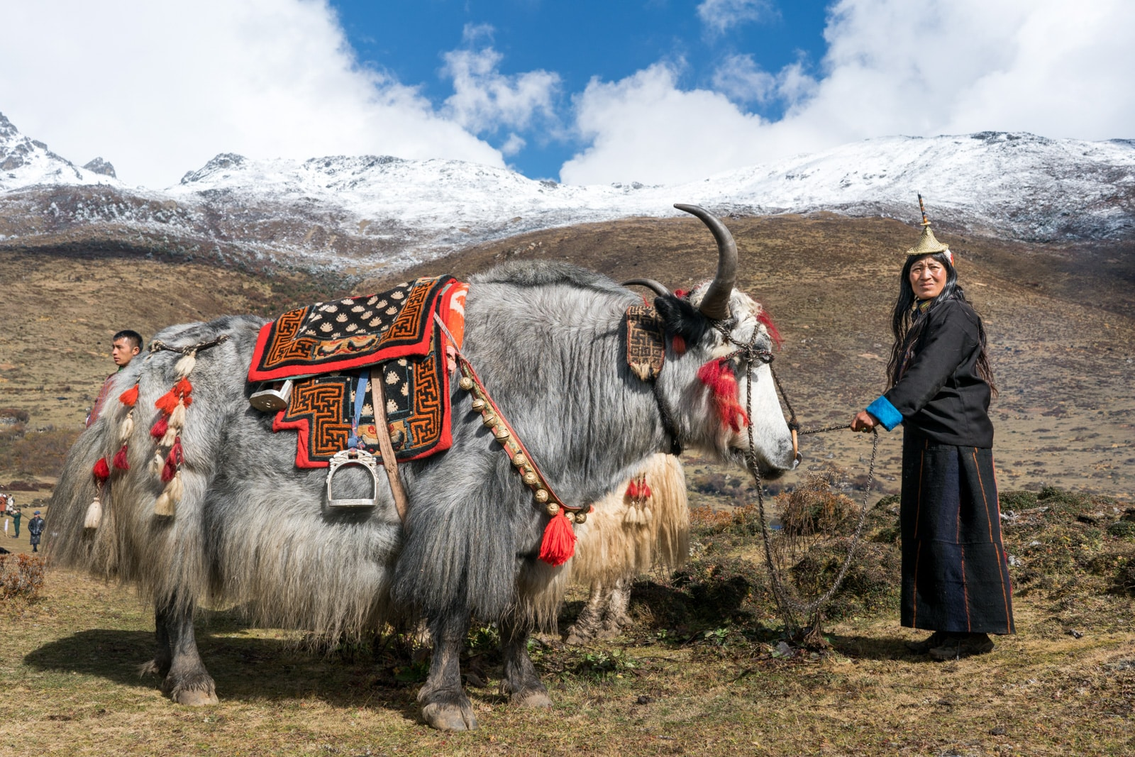 Photos of Bhutan - Layap woman with yak at the Royal Highlander Festival - Lost With Purpose travel blog