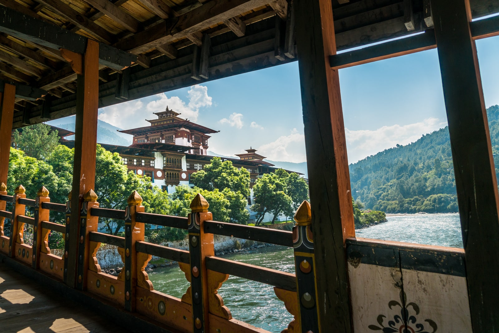 Photos of Bhutan - Bridge into Punakha dzong - Lost With Purpose travel blog