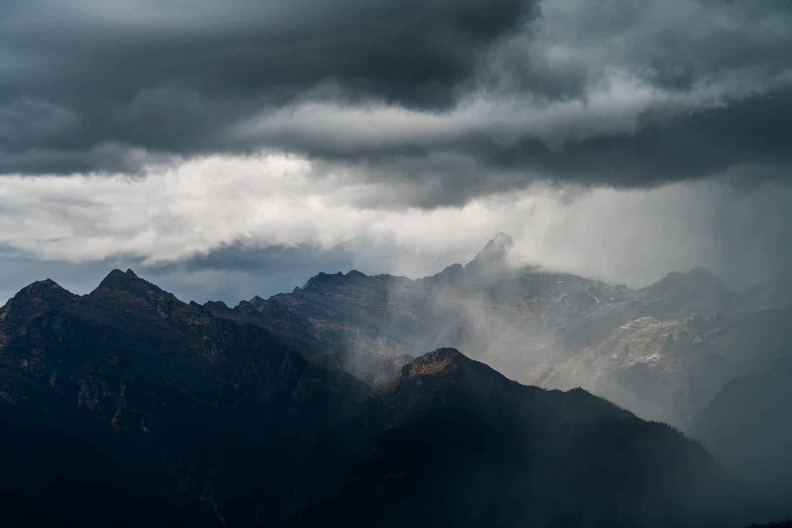 Photos of Bhutan - Storm clouds over the Druk Path - Lost WIth Purpose travel blog