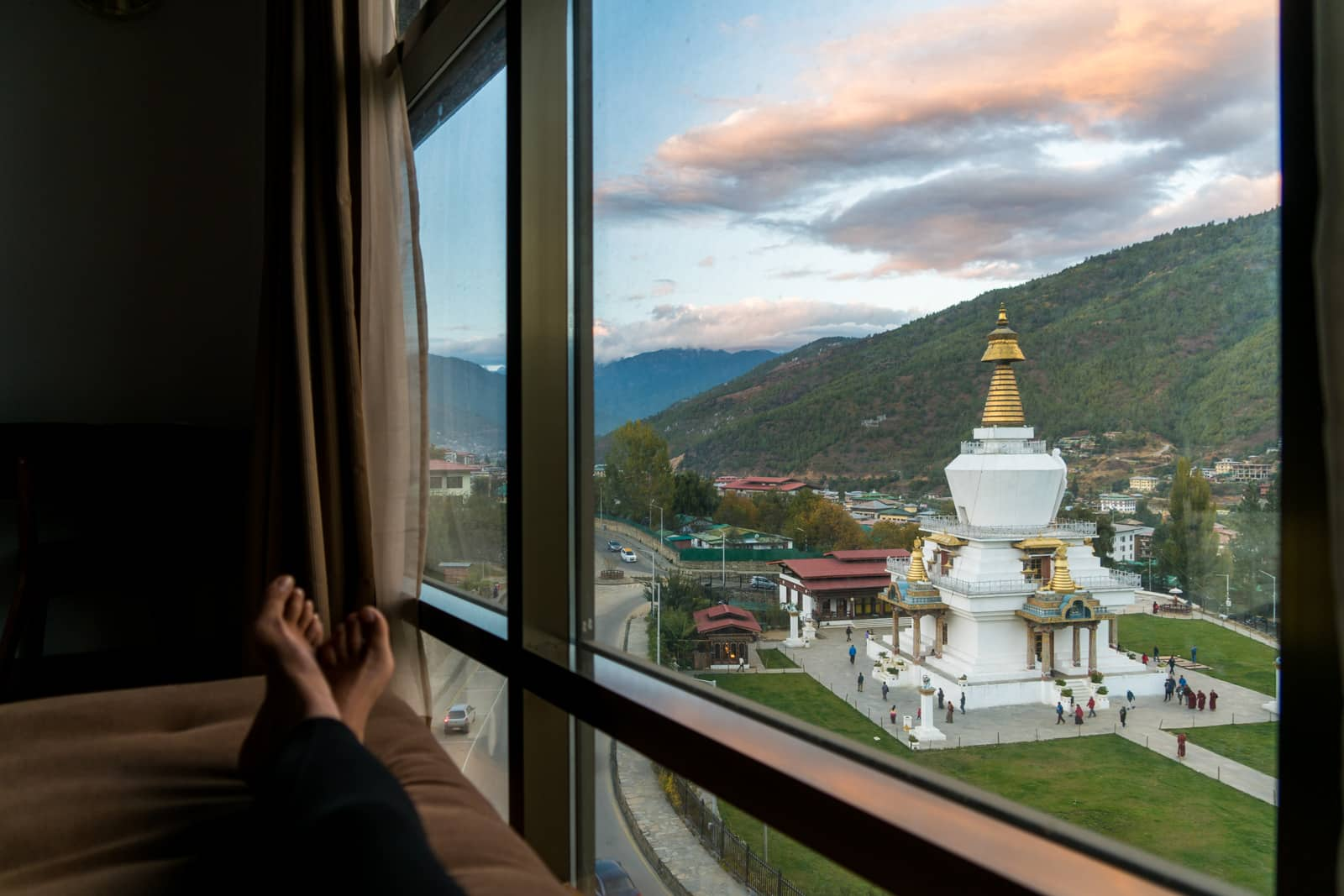 Photos of Bhutan - View of Memorial Chorten from a hotel room - Lost With Purpose travel blog