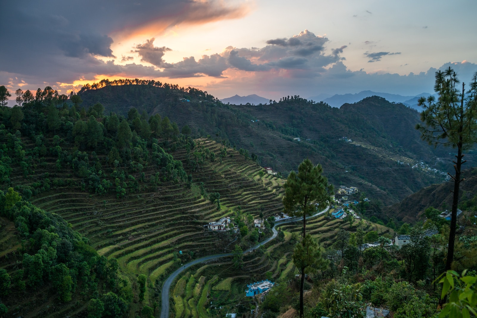 How to get from Rishikesh to Khirsu, Uttarakhand, India - Sunset over farm terraces in Khirsu village - Lost With Purpose travel blog
