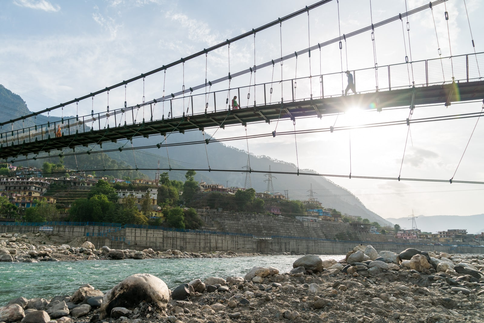 Guide to trekking to the start of the Ganges River in Uttarakhand, India - Bridge spanning the Bhagirathi River in Uttarkashi - Lost With Purpose travel blog