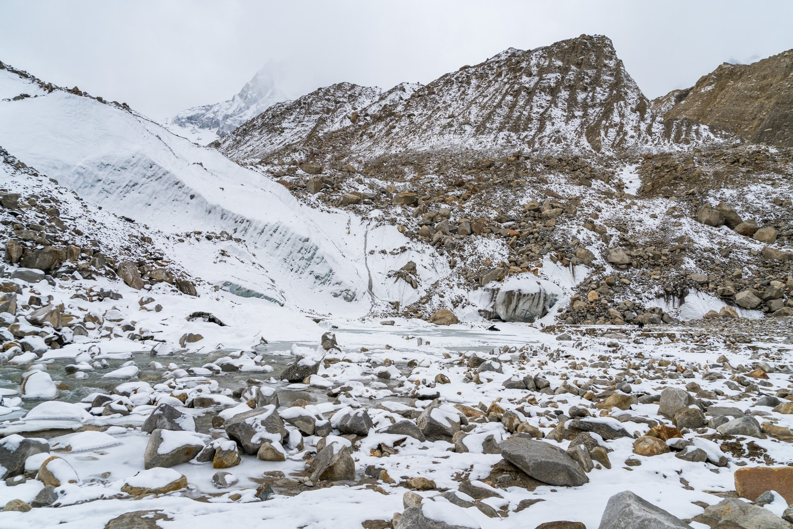 Guide to trekking to the start of the Ganges River in Uttarakhand, India - Gomukh with snow - Lost With Purpose travel blog