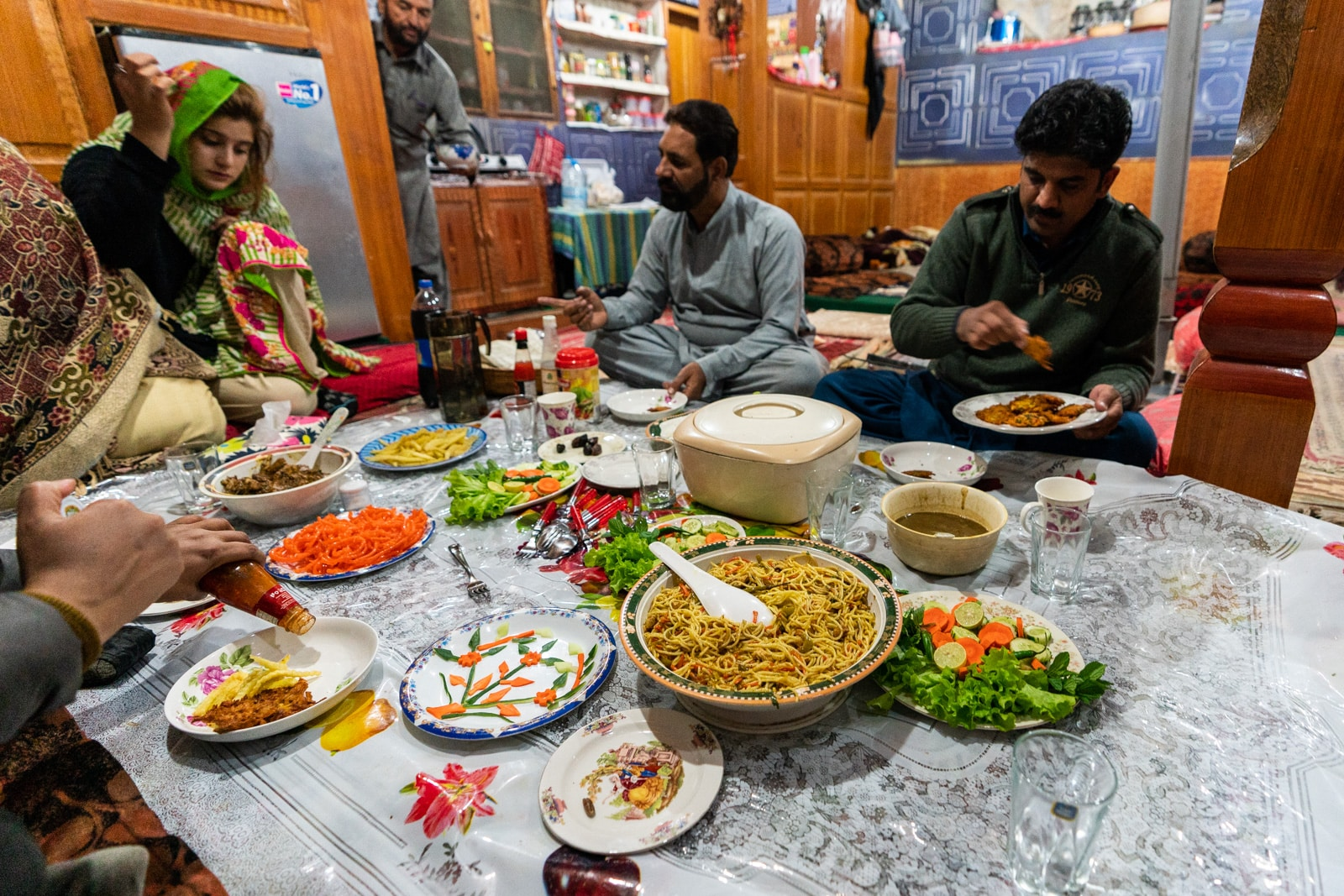 Iftar meal with homestay hosts in Astore, Pakistan