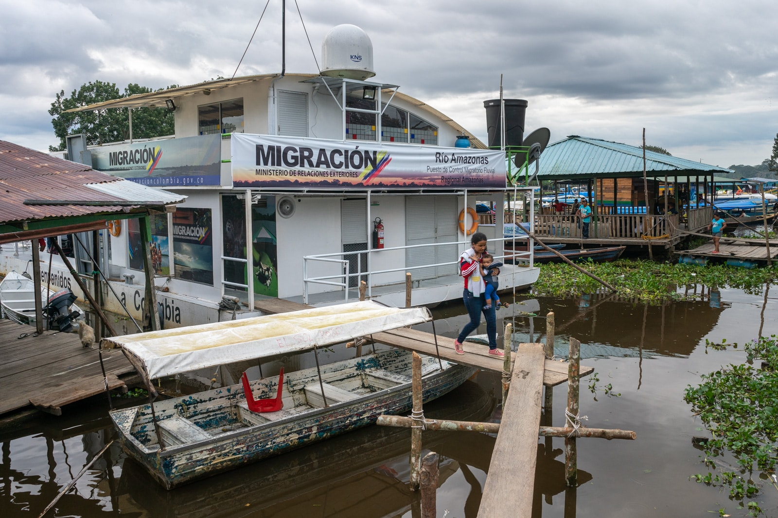 Taking the fast boat from Manaus, Brazil to Leticia, Colombia - Immigration office in Leticia canal - Lost With Purpose travel blog