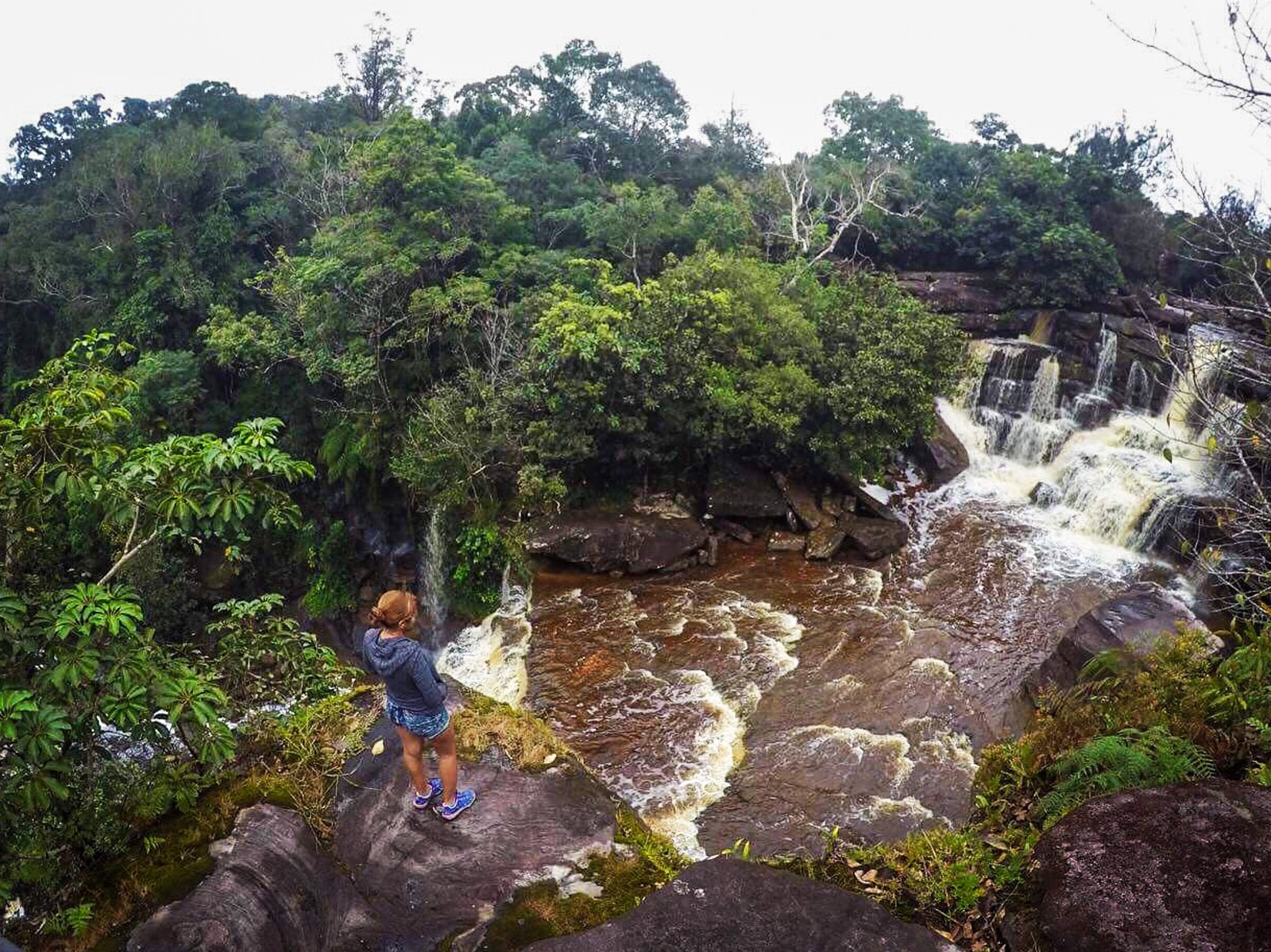 Solo female traveler from Kuwait and Oman - At waterfalls in Kampot, Cambodia
