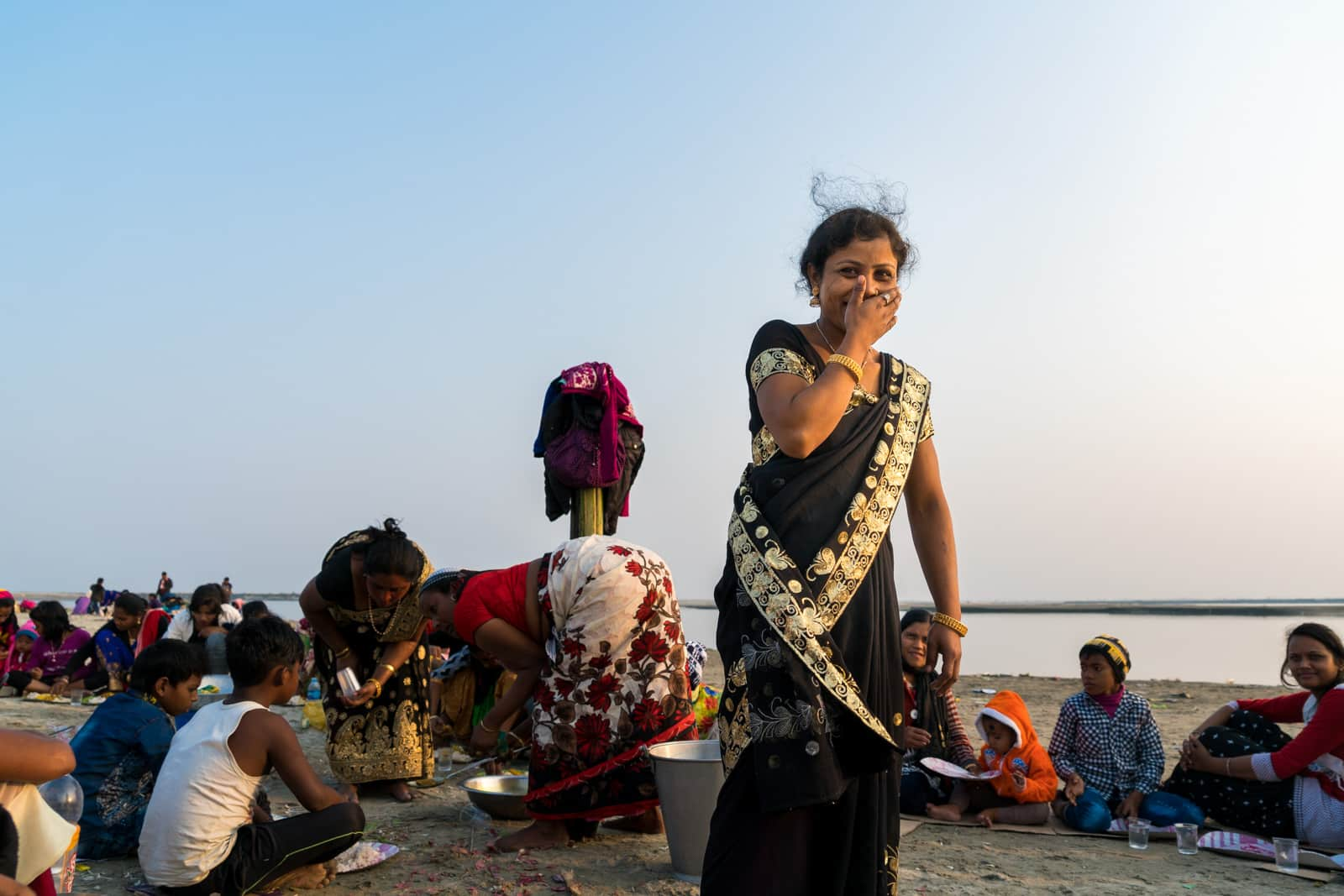Reflections - Family on Majuli island - Lost With Purpose travel blog