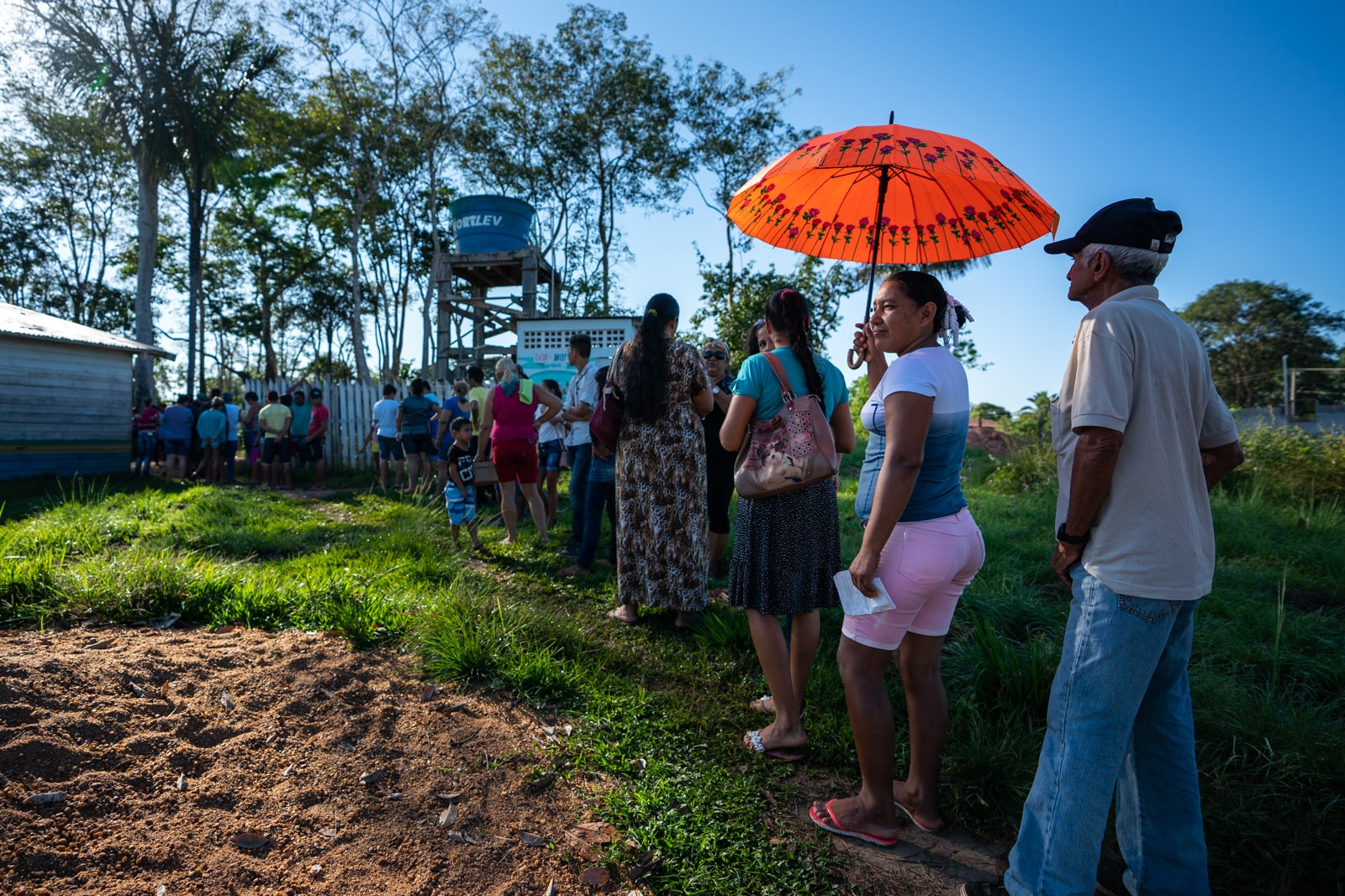 Reflections - Patients waiting outside the eye clinic in Murutinga village, Amazonas, Brazil - Lost With Purpose travel blog