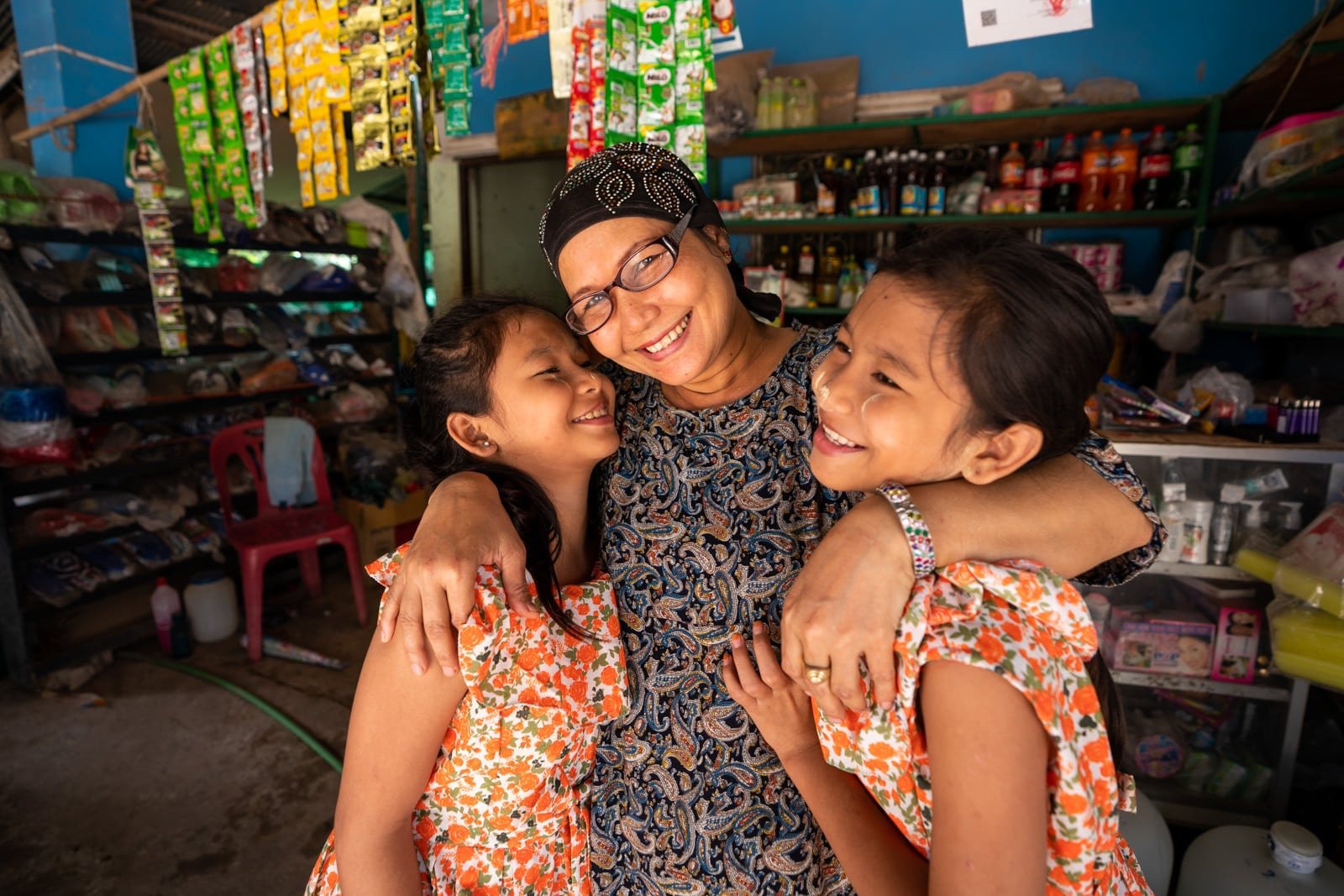 Mother with glasses and daughter from a OneSight clinic near Mae Sot, Thailand - Lost With Purpose travel blog