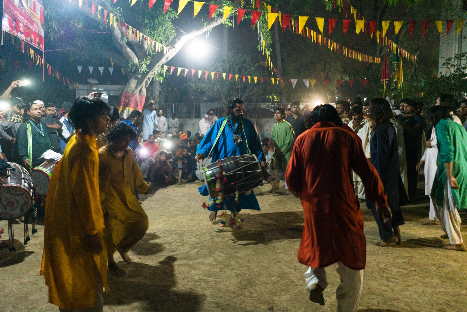 Sufi dhamal in Lahore - Dance and dhol drums at Madhu Lal Hussain shrine in Lahore on Thursday night - Lost With Purpose travel blog