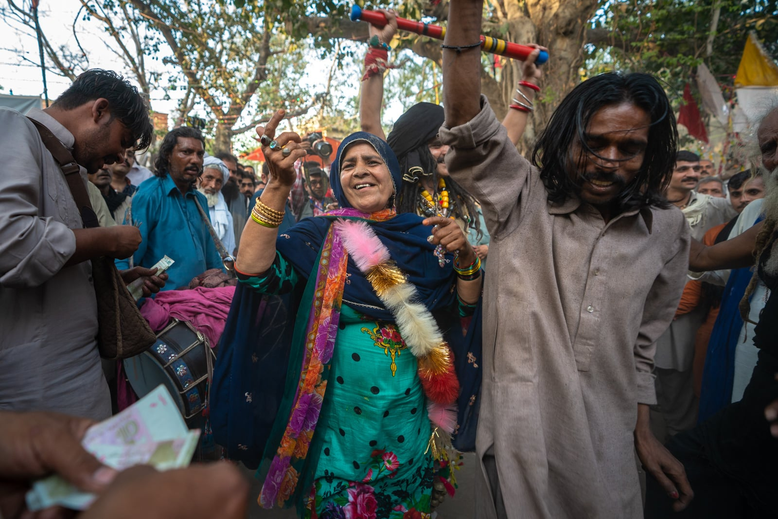 Woman dancing dhamal in Lahore at the urs of Madhu Lal Hussain