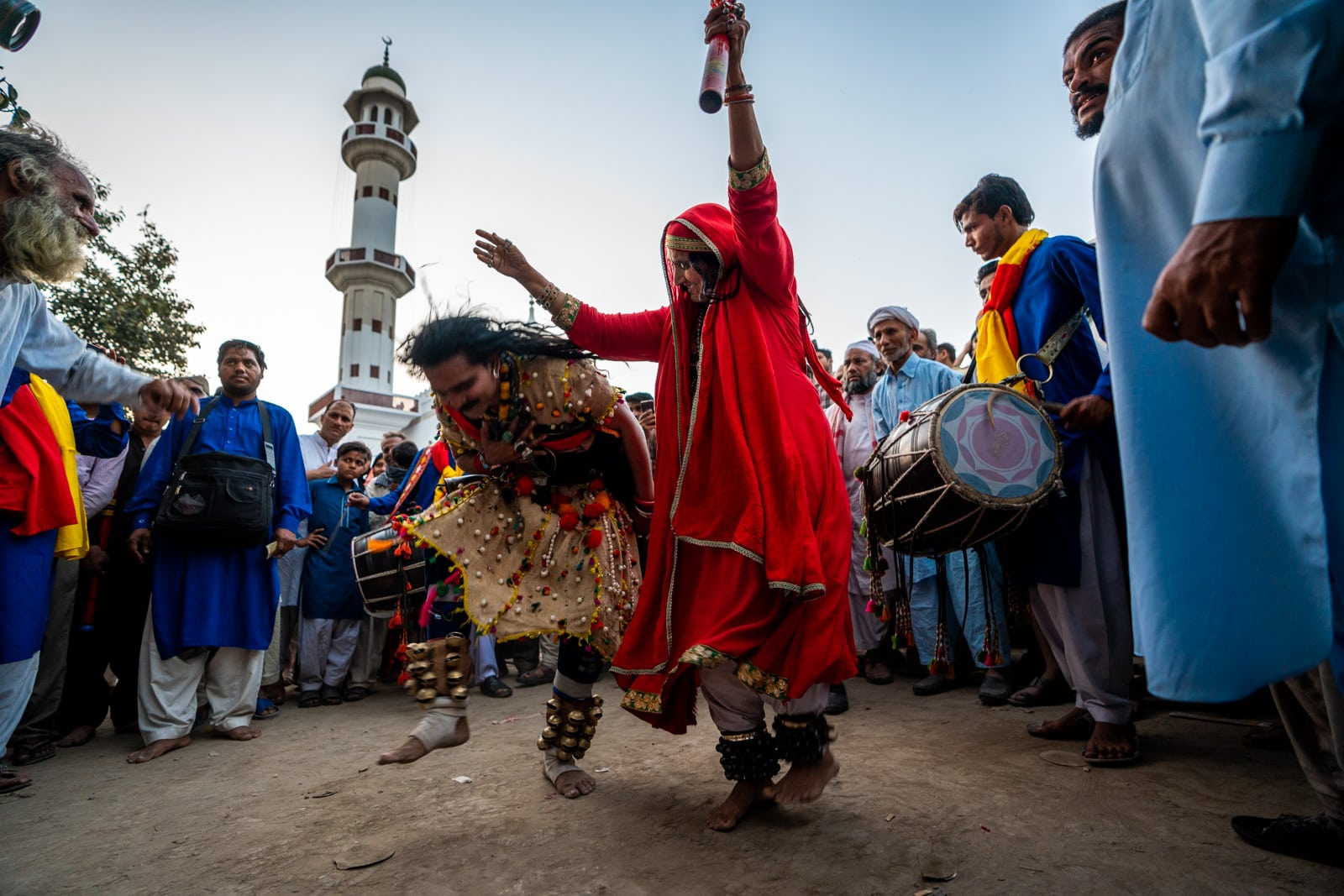 Female malang dancing dhamal in Lahore at the urs of Madhu lal Hussain