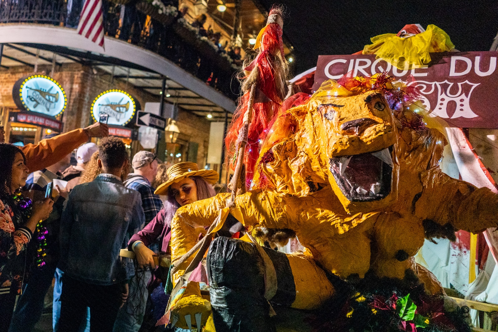Lioness parade float from Krewe of Full Bush in New Orleans Mardi Gras parade 2019
