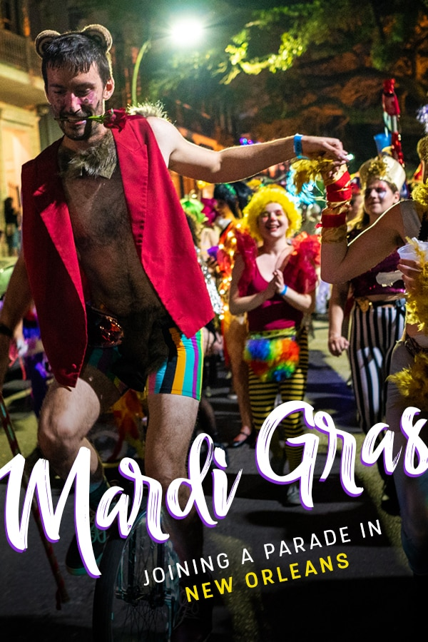 Getting ready for Mardi Gras in New Orleans? Get inspired by this photo essay from the time I joined in on a Mardi Gras parade unexpectedly despite being a tourist.