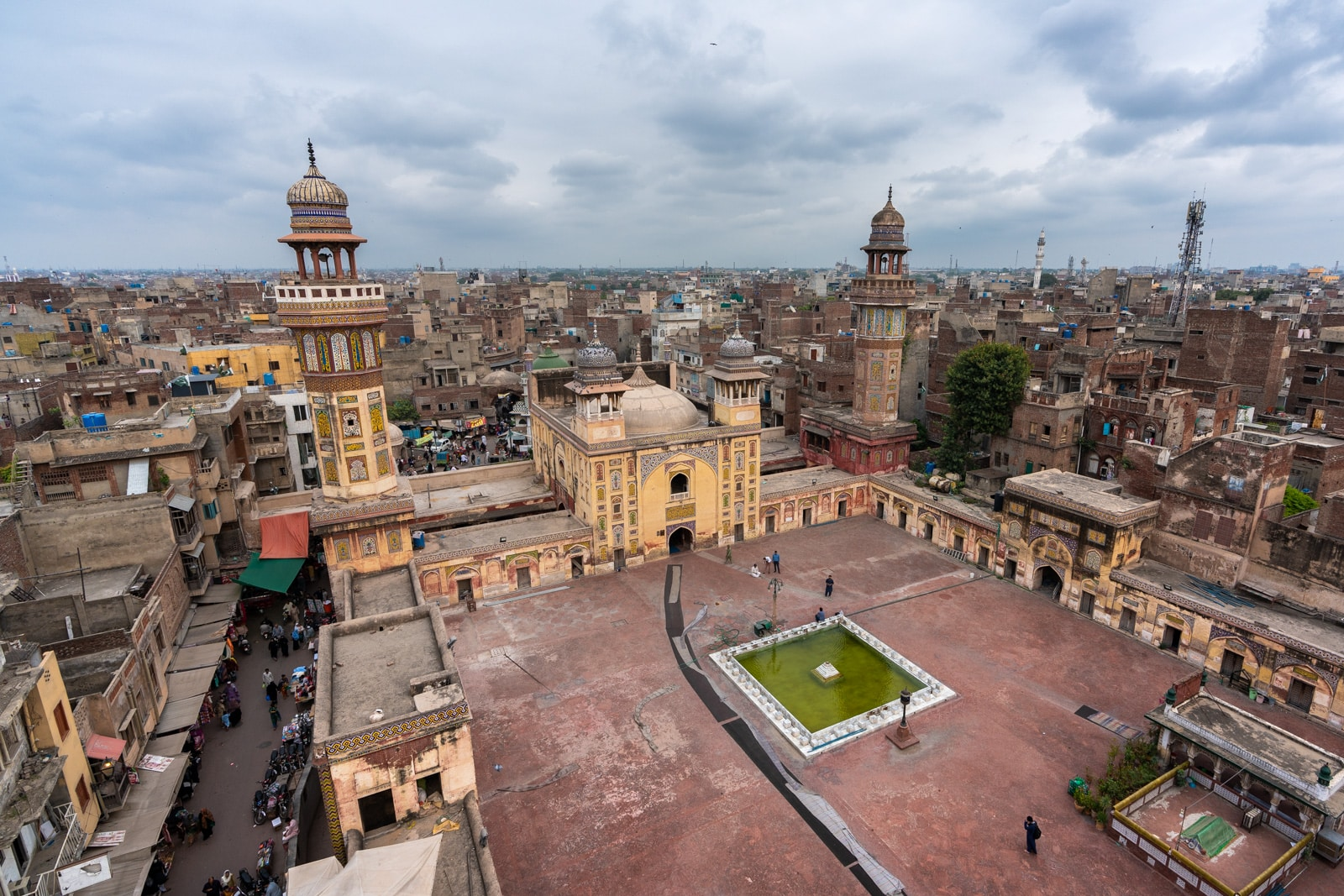Unique things to do in Lahore, Pakistan - View of Wazir Khan mosque from above in the minaret