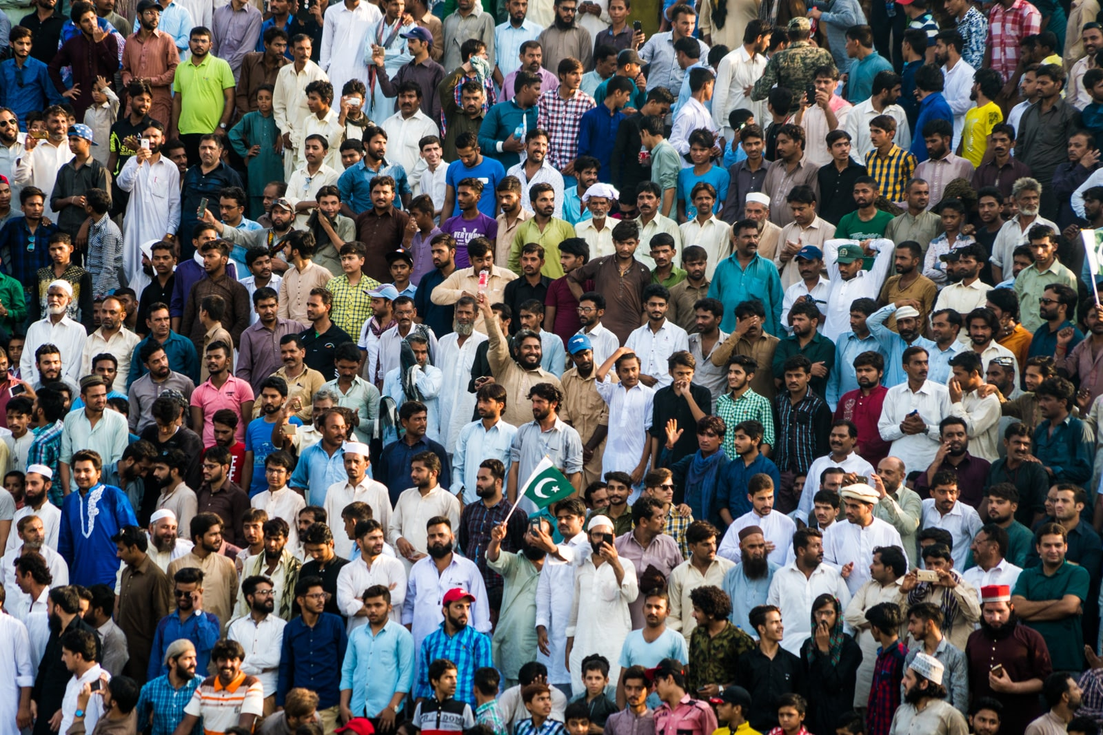 Day trips from Lahore - Crowd of nationalist Pakistani men at the Wagah border ceremony between India and Pakistan