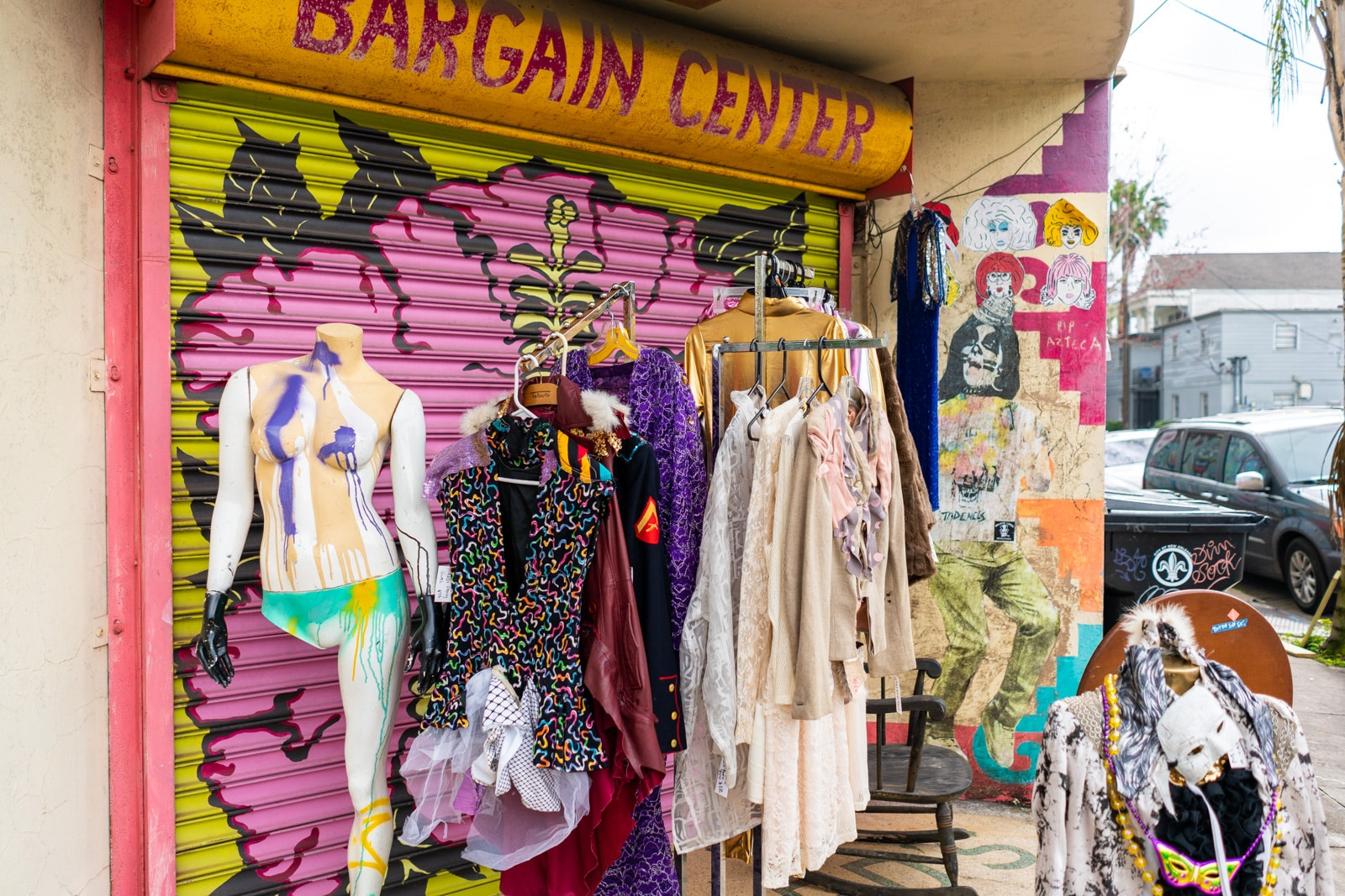 Mardi Gras costume clothes for sale in the Bywater neighborhood of New Orleans