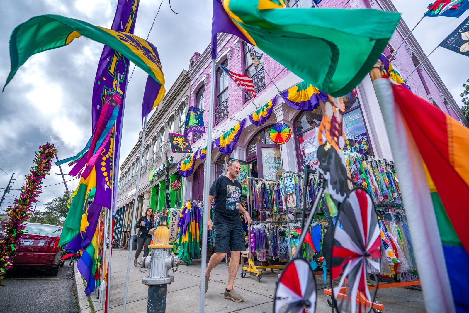 Mardi Gras flags on sale on Magazine Street in New Orleans