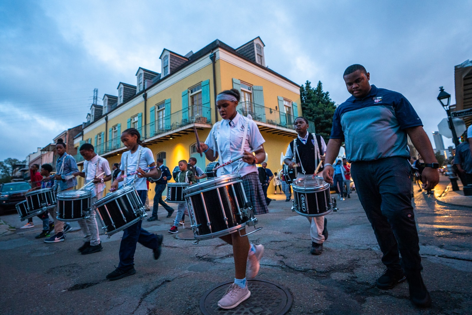 School kids marching band practicing in the French Quarter of New Orleans for Mardi Gras