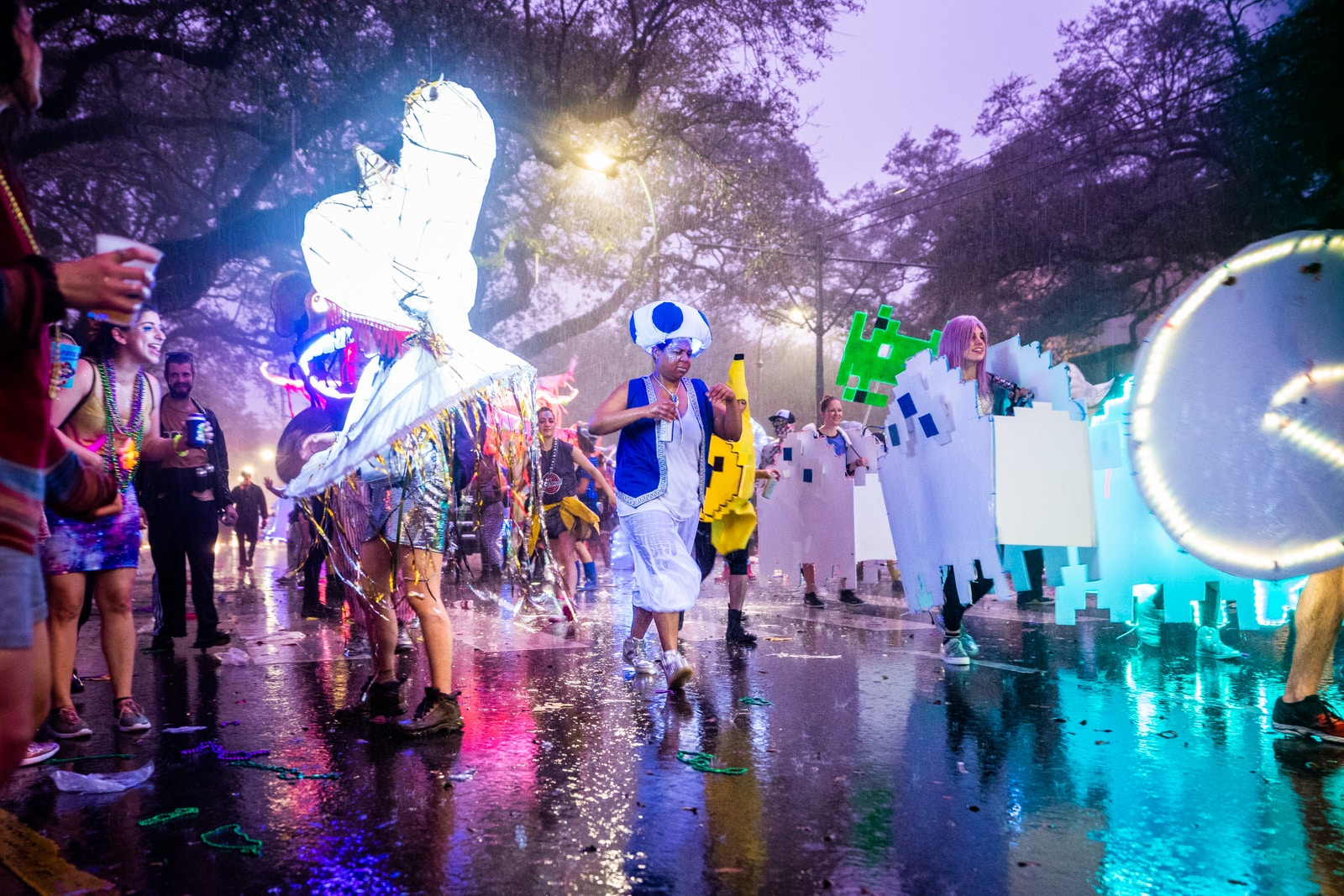 Mardi Gras parade in New Orleans during a thunderstorm