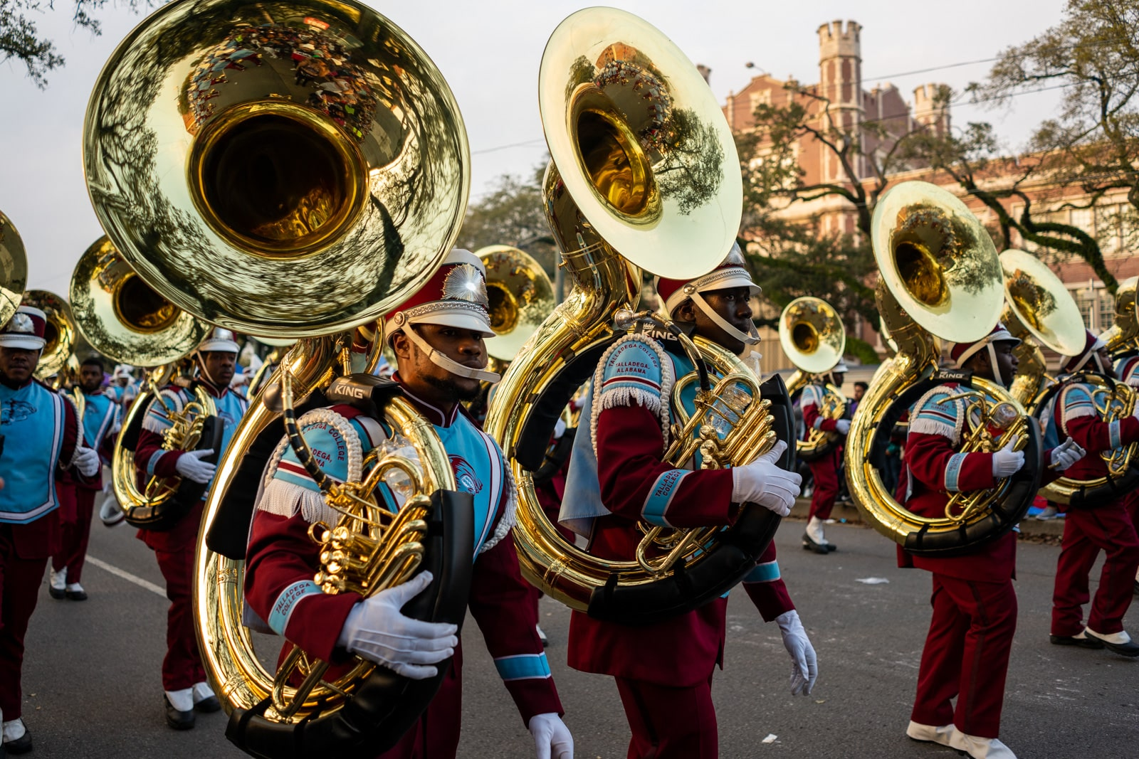 Marching band on the streets of New Orleans during the Endymion parade during Mardi Gras