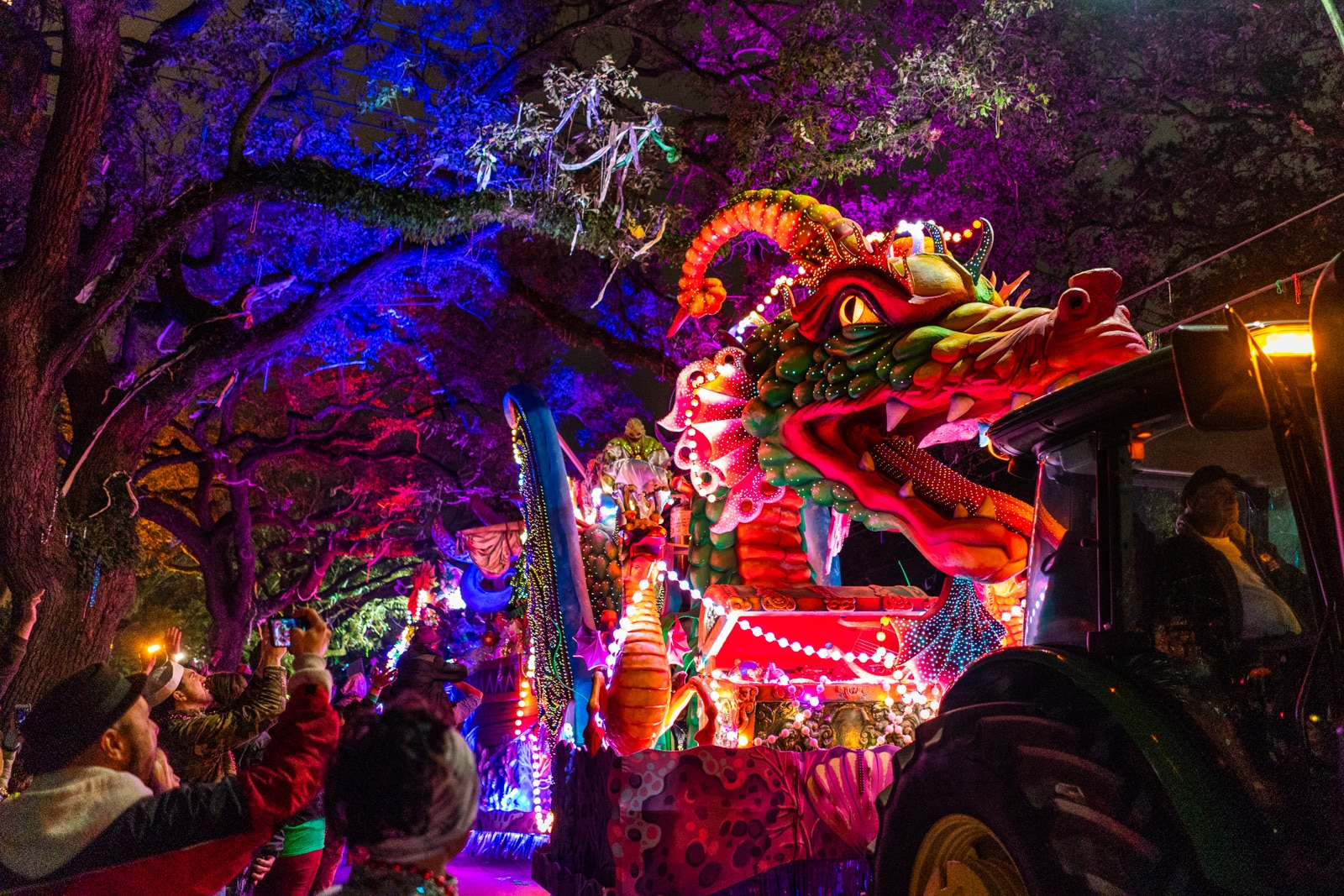 Fantastic dragon float at the Krewe of Orpheus parade during Mardi Gras in New Orleans