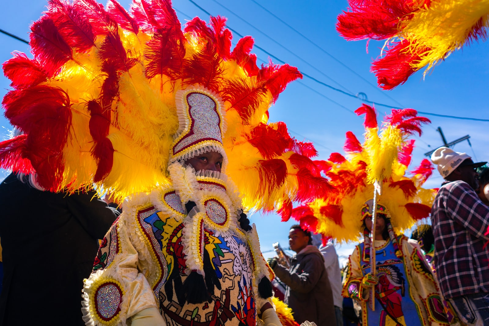 Mardi Gras Indians walking in New Orleans on Mardi Gras day