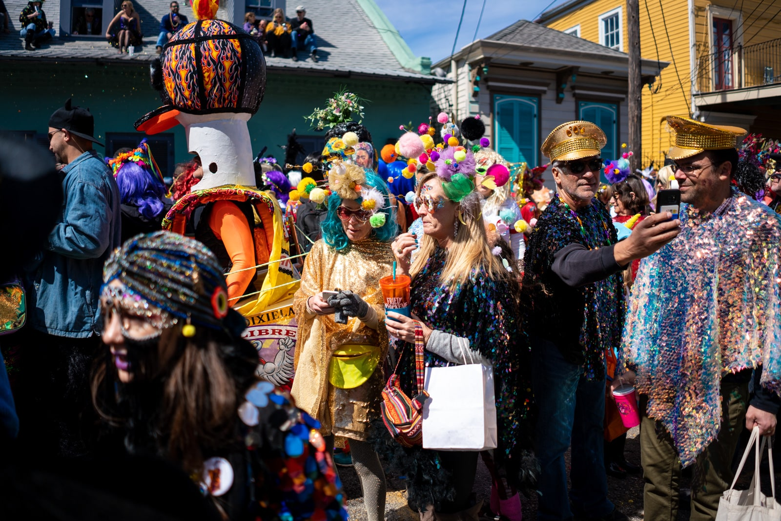 Mardi Gras costumes in the Marigny during Mardi Gras in New Orleans