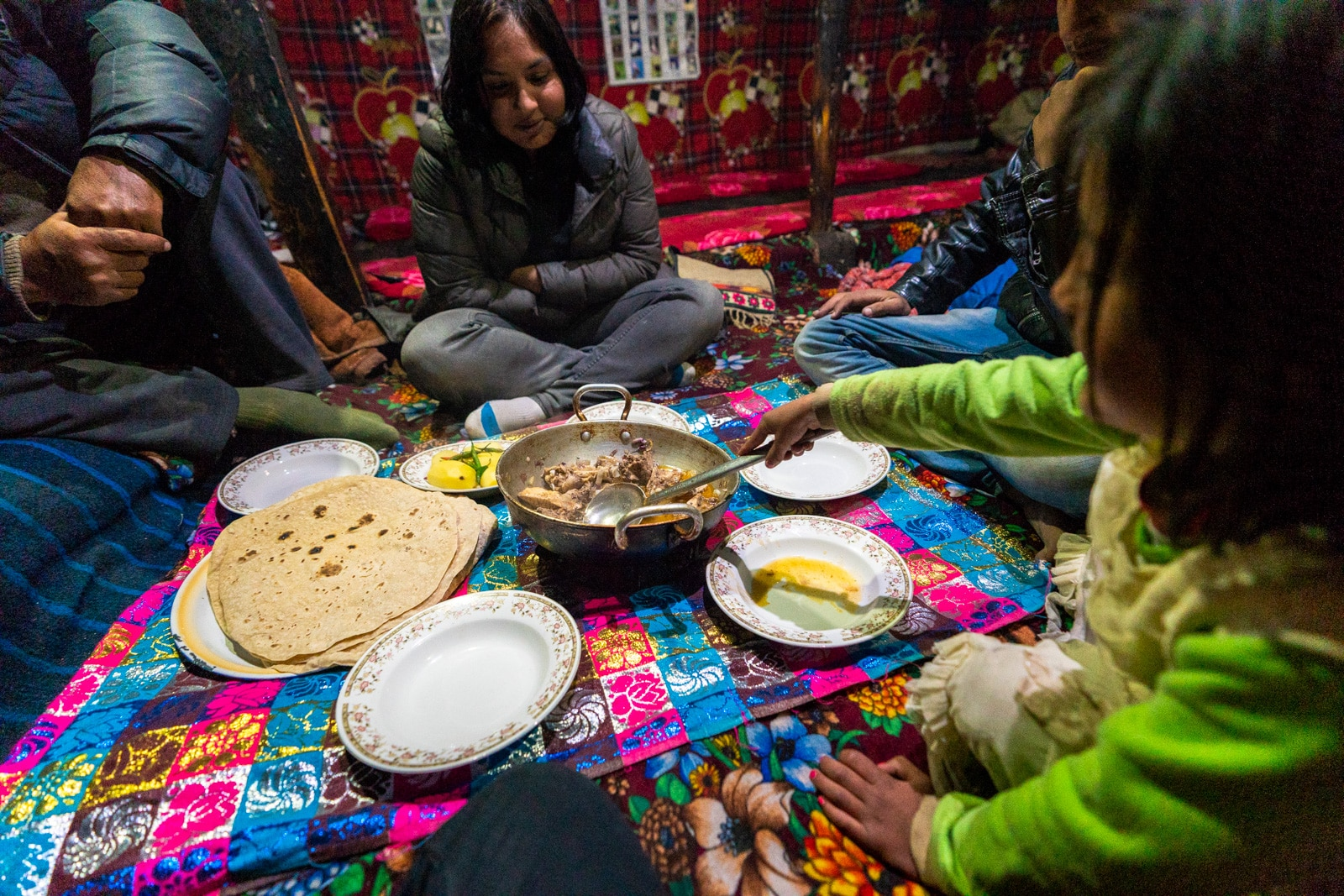 Dinner with a local family in Chapursan Valley at Pamir Serai guesthouse