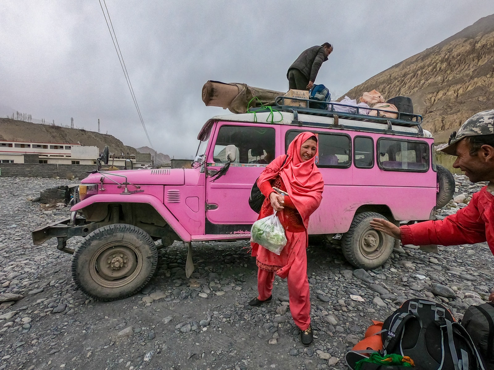 Hot pink public jeep to Chapursan Valley in Gilgit Baltistan, Pakistan