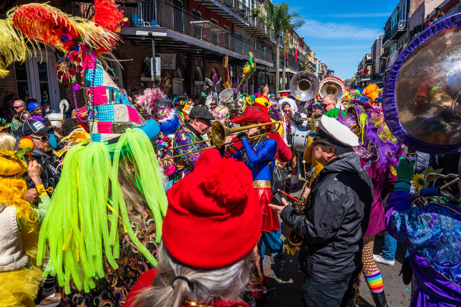 Crowd of people in costume celebrating Mardi Gras in New Orleans