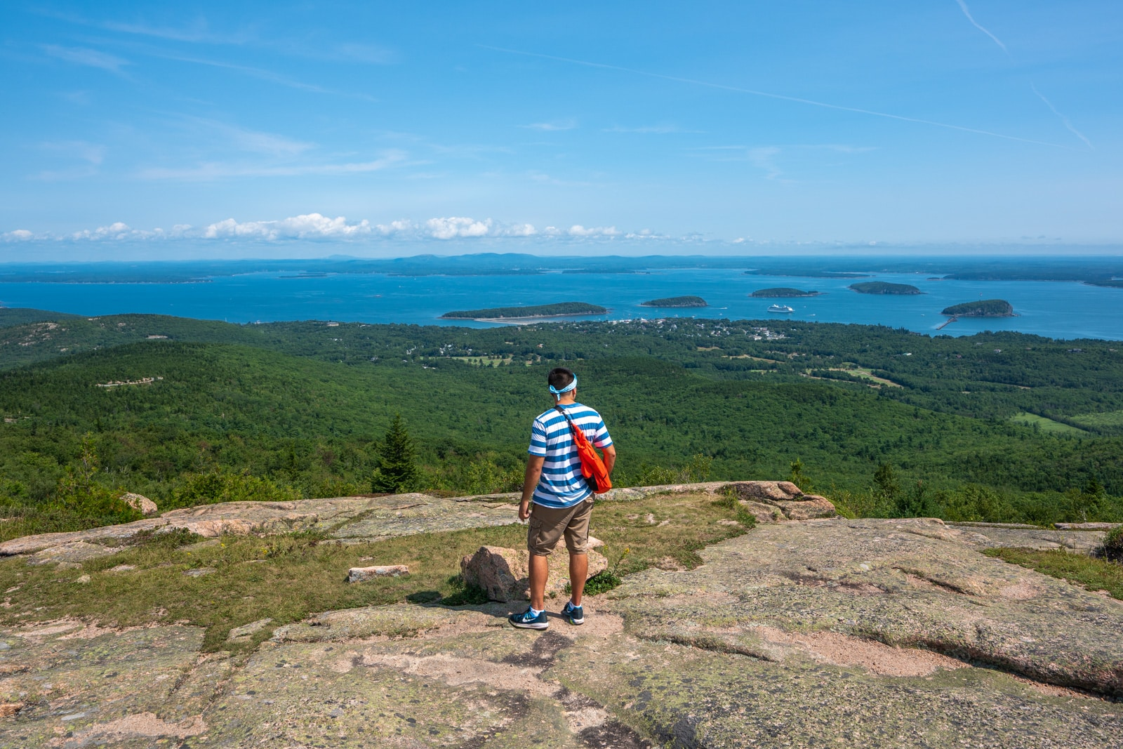 Boy looking at the view from Cadillac Mountain