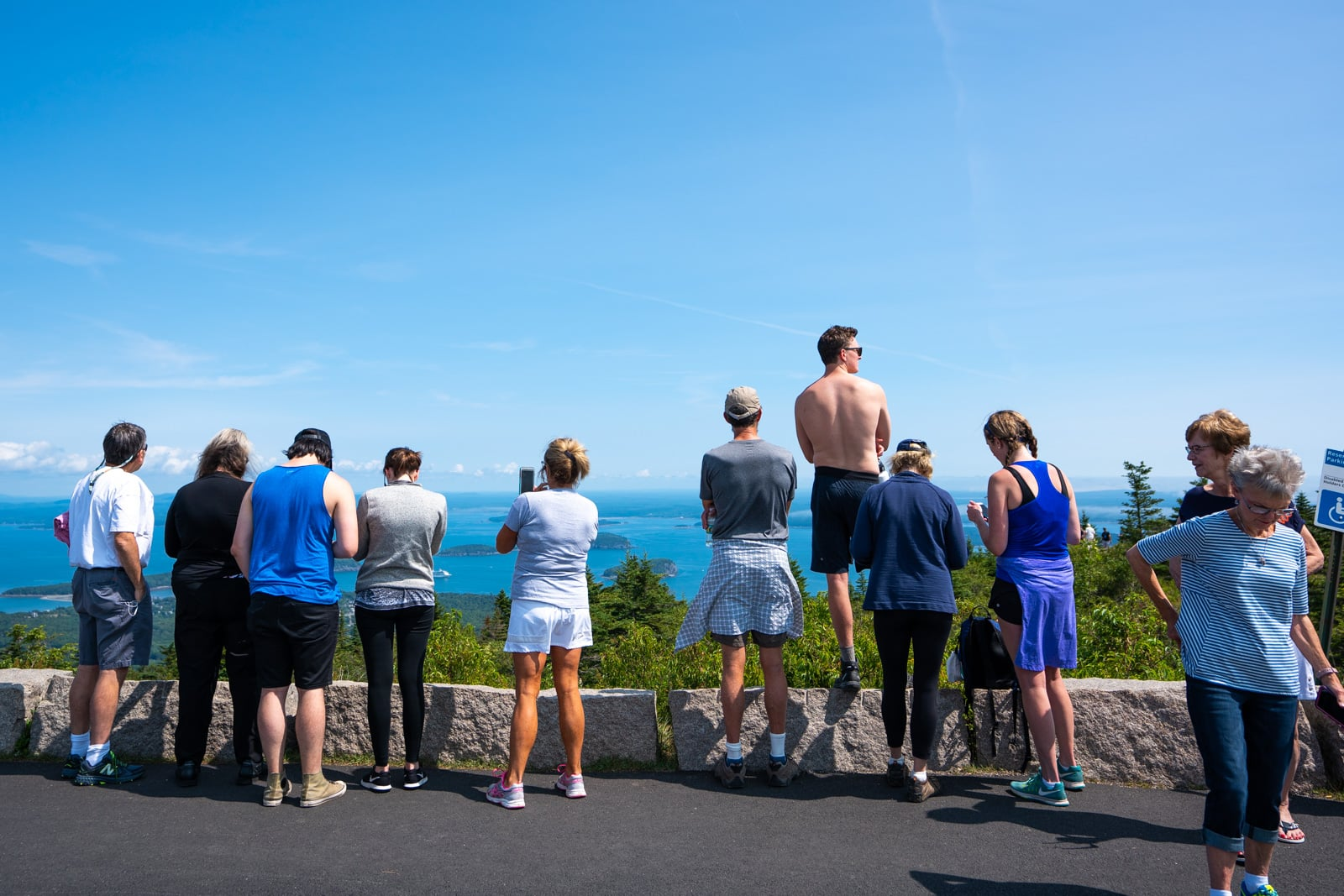 Tourists in Acadia National Park, Maine