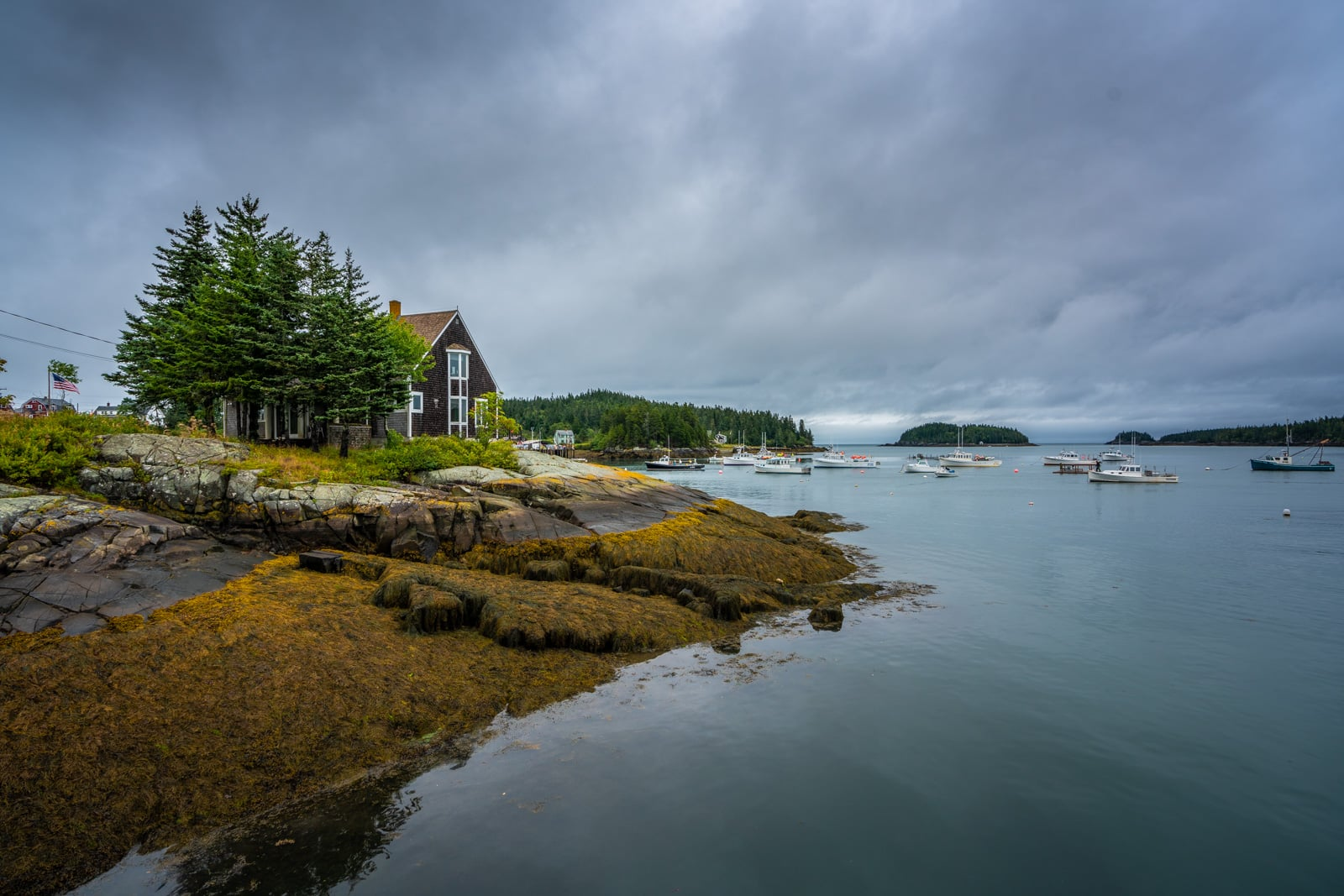 Cloudy days in town of Cutler, Maine