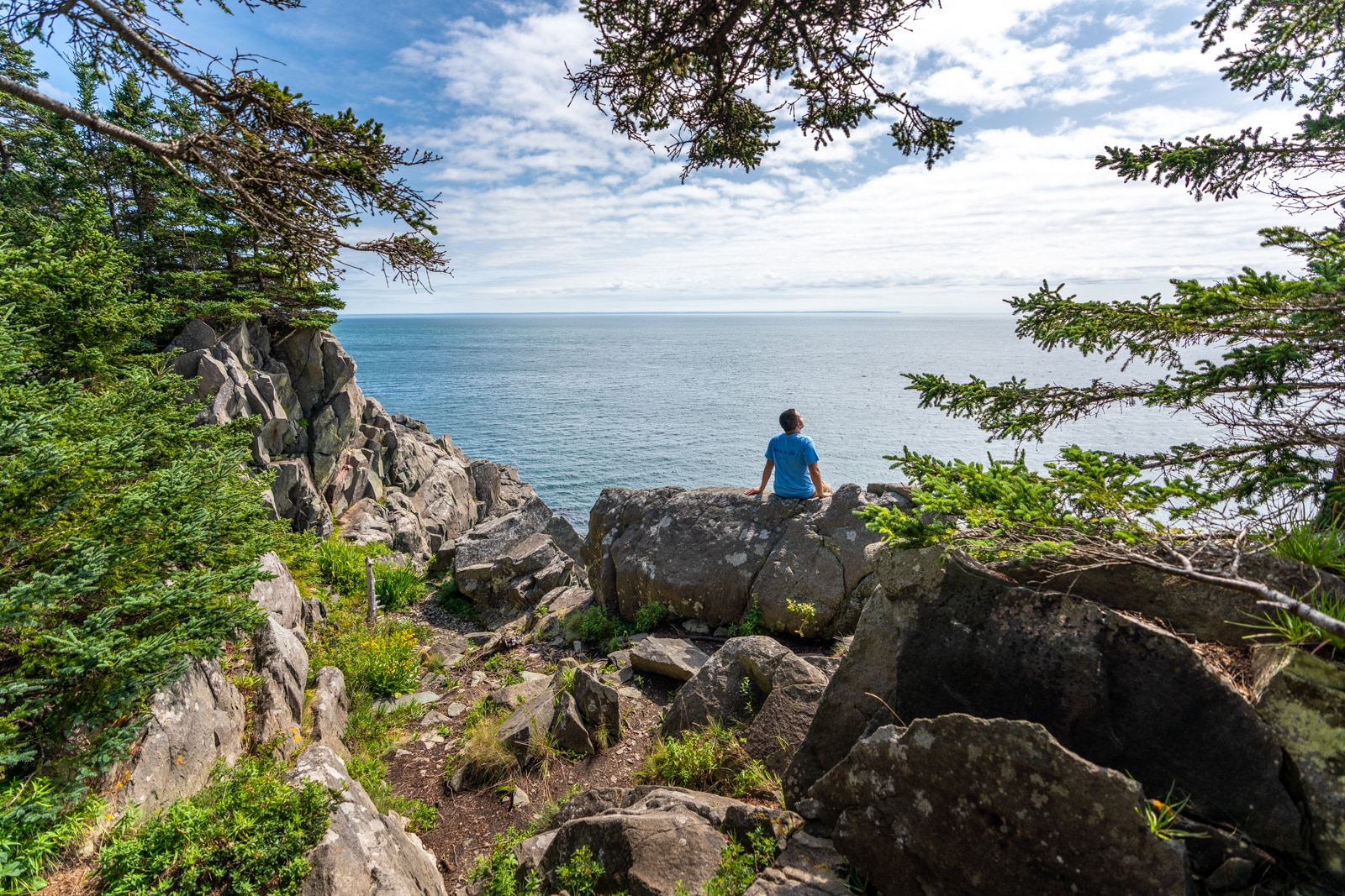 Brother enjoying sun and views at Cutler Public Lands in Lubec, Maine