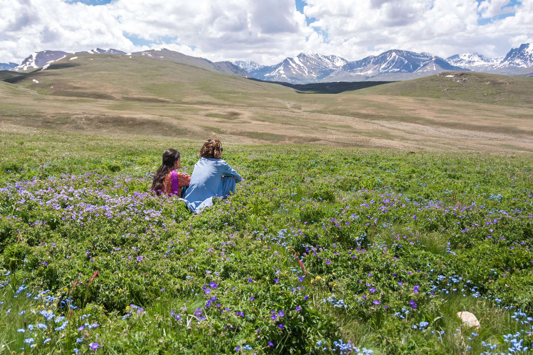 Couple traveling in Deosai, Pakistan