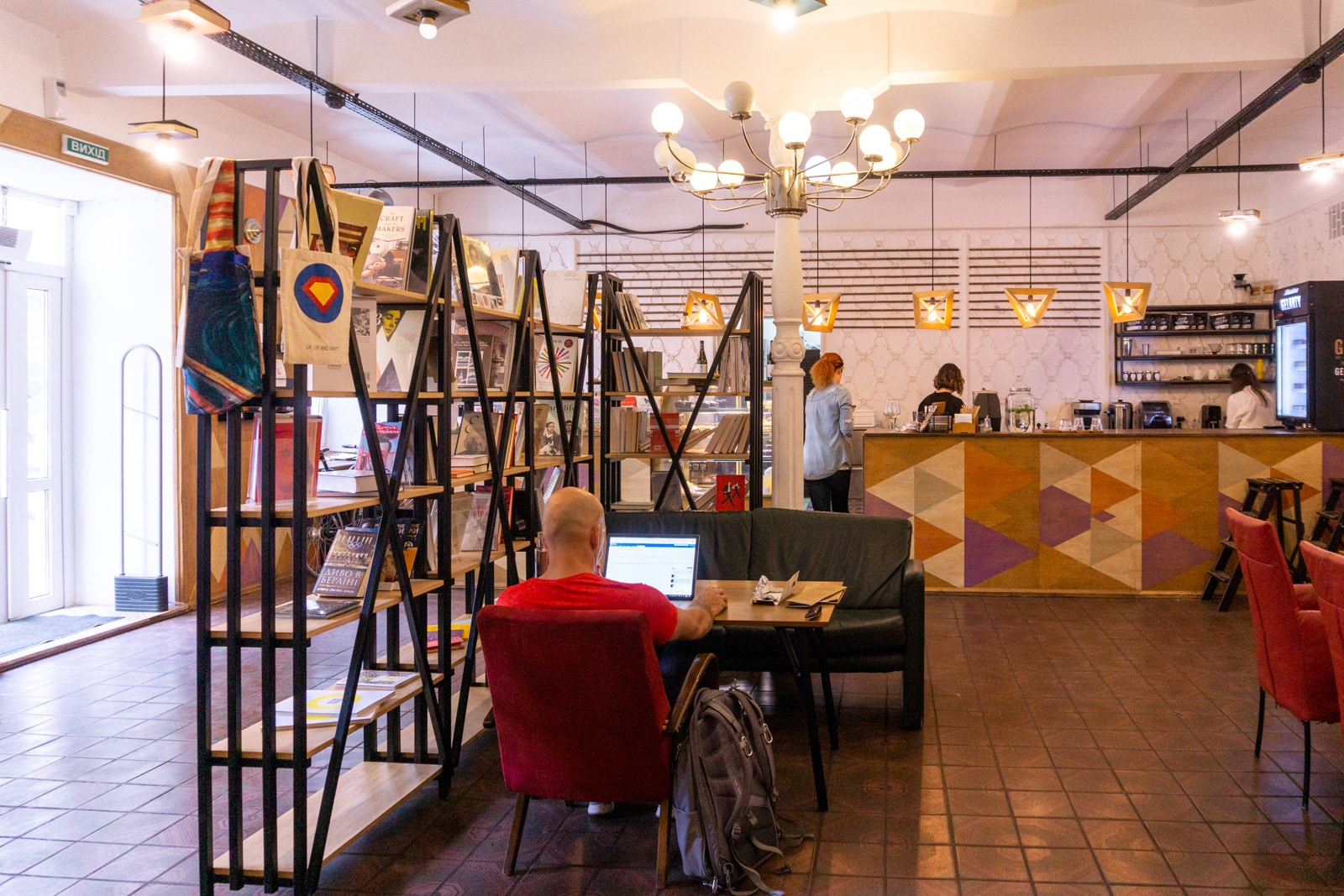 A man working remotely in Kharms cafe in Kiev, Ukraine