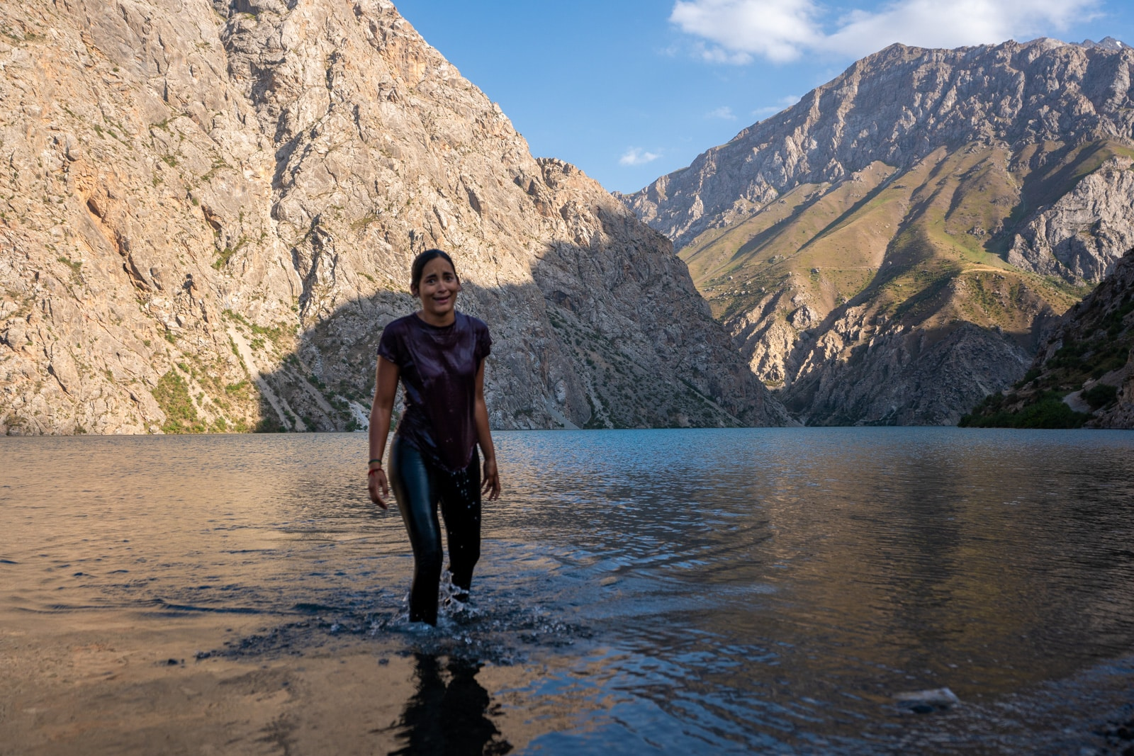 Swimming in the seventh lake at Haft Kol, Tajikistan