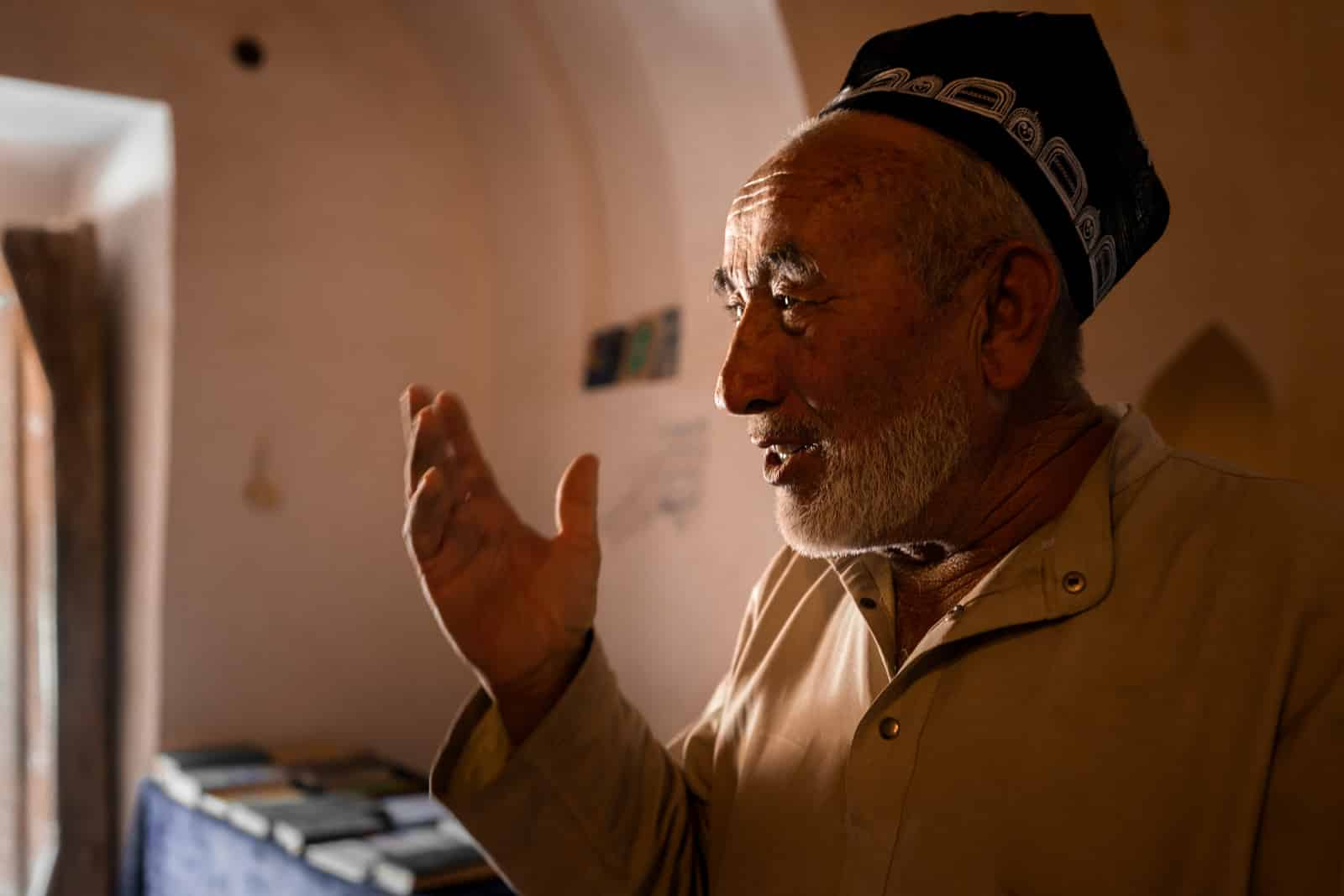 Caretaker of the mausoleum of Mohammed Bushoro in Mazari Sharif, Tajikistan